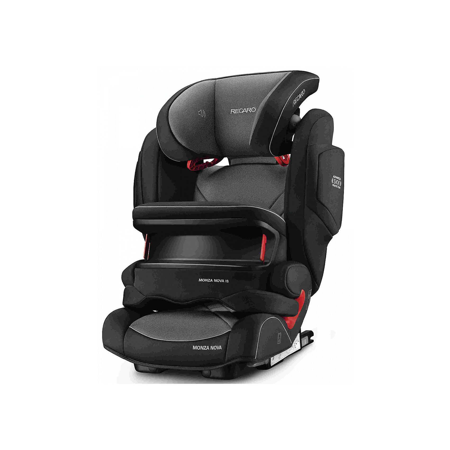 Автокресло Monza Nova IS Seatfix 9-36 кг., Recaro, Carbon BlackХарактеристики:<br><br>• группа: 1/2/3;<br>• вес ребенка: 9-36 кг;<br>• возраст ребенка: от 9 месяцев до 12 лет;<br>• способ крепления: IsoFix или штатными ремнями безопасности автомобиля;<br>• способ установки: лицом по ходу движения автомобиля;<br>• регулируется высота подголовника: 11 положений;<br>• имеется ростомер;<br>• регулируется глубина подголовника;<br>• перед ребенком находится специальный жесткий столик, который обеспечивает максимальную защиту ребенка от ударов при столкновении и резком торможении;<br>• угол наклона спинки подгоняется под угол сиденья автомобиля, слегка откидывается назад;<br>• имеются подлокотники, высота не меняется;<br>• сетчатый кармашек на боковой стороне автокресла;<br>• под сиденьем автокресла имеются пластиковые опорные элементы;<br>• в боковинках автокресла находятся встроенные динамики;<br>• усиленная боковая защита, 12 см;<br>• материал: пластик, полиэстер;<br>• размеры автокресла: 48х55х74 см;<br>• вес: 8 кг.<br><br>Автокресло Monza Nova IS Seatfix будет сопровождать вас и вашего кроху вплоть до достижения ребенком возраста 12 лет. Автокресло укомплектовано дополнительными аксессуарами для наибольшей безопасности ребенка на каждом этапе его взросления. Когда вес малыша находится в пределах 9-18 кг, эргономичный защитный столик вместе с 3-х точечным ремнем безопасности автомобиля обеспечивают максимальную безопасность. Автокресло обязательно используется со столиком, пока кроха не достигнет определенного роста и веса (95 см/18 кг).<br><br>Автокресло устанавливается на заднем сидении автомобиля с помощью системы Изофикс. Выдвижные крепления кресла совмещаются с системой Изофикс в автомобиле.<br>Обивка автокресла выполнена из дышащего материала, который не впитывает посторонние запахи. Автокресло оснащено вентиляционными отверстиями для циркуляции воздуха и регуляции теплообмена. Чехлы автокресла съемные, допускается стирка при температуре 30 градусов.<br><br>Компл