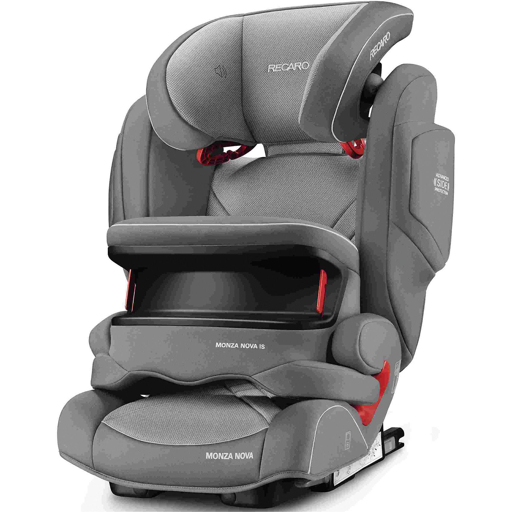 Автокресло RECARO Monza Nova IS Seatfix 9-36 кг, Alluminum GreyГруппа 1-2-3 (От 9 до 36 кг)<br>Характеристики:<br><br>• группа: 1/2/3;<br>• вес ребенка: 9-36 кг;<br>• возраст ребенка: от 9 месяцев до 12 лет;<br>• способ крепления: IsoFix или штатными ремнями безопасности автомобиля;<br>• способ установки: лицом по ходу движения автомобиля;<br>• регулируется высота подголовника: 11 положений;<br>• имеется ростомер;<br>• регулируется глубина подголовника;<br>• перед ребенком находится специальный жесткий столик, который обеспечивает максимальную защиту ребенка от ударов при столкновении и резком торможении;<br>• угол наклона спинки подгоняется под угол сиденья автомобиля, слегка откидывается назад;<br>• имеются подлокотники, высота не меняется;<br>• сетчатый кармашек на боковой стороне автокресла;<br>• под сиденьем автокресла имеются пластиковые опорные элементы;<br>• в боковинках автокресла находятся встроенные динамики;<br>• усиленная боковая защита, 12 см;<br>• материал: пластик, полиэстер;<br>• размеры автокресла: 48х55х74 см;<br>• вес: 8 кг.<br><br>Автокресло Monza Nova IS Seatfix будет сопровождать вас и вашего кроху вплоть до достижения ребенком возраста 12 лет. Автокресло укомплектовано дополнительными аксессуарами для наибольшей безопасности ребенка на каждом этапе его взросления. Когда вес малыша находится в пределах 9-18 кг, эргономичный защитный столик вместе с 3-х точечным ремнем безопасности автомобиля обеспечивают максимальную безопасность. Автокресло обязательно используется со столиком, пока кроха не достигнет определенного роста и веса (95 см/18 кг).<br><br>Автокресло устанавливается на заднем сидении автомобиля с помощью системы Изофикс. Выдвижные крепления кресла совмещаются с системой Изофикс в автомобиле.<br>Обивка автокресла выполнена из дышащего материала, который не впитывает посторонние запахи. Автокресло оснащено вентиляционными отверстиями для циркуляции воздуха и регуляции теплообмена. Чехлы автокресла съемные, допускается стирка при темпе