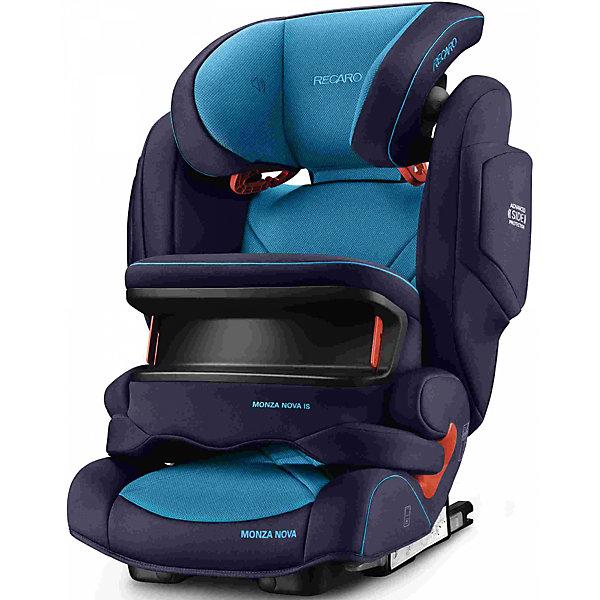 Автокресло RECARO Monza Nova IS Seatfix 9-36 кг, Xenon BlueГруппа 1-2-3  (от 9 до 36 кг)<br>Характеристики:<br><br>• группа: 1/2/3;<br>• вес ребенка: 9-36 кг;<br>• возраст ребенка: от 9 месяцев до 12 лет;<br>• способ крепления: IsoFix или штатными ремнями безопасности автомобиля;<br>• способ установки: лицом по ходу движения автомобиля;<br>• регулируется высота подголовника: 11 положений;<br>• имеется ростомер;<br>• регулируется глубина подголовника;<br>• перед ребенком находится специальный жесткий столик, который обеспечивает максимальную защиту ребенка от ударов при столкновении и резком торможении;<br>• угол наклона спинки подгоняется под угол сиденья автомобиля, слегка откидывается назад;<br>• имеются подлокотники, высота не меняется;<br>• сетчатый кармашек на боковой стороне автокресла;<br>• под сиденьем автокресла имеются пластиковые опорные элементы;<br>• в боковинках автокресла находятся встроенные динамики;<br>• усиленная боковая защита, 12 см;<br>• материал: пластик, полиэстер;<br>• размеры автокресла: 48х55х74 см;<br>• вес: 8 кг.<br><br>Автокресло Monza Nova IS Seatfix будет сопровождать вас и вашего кроху вплоть до достижения ребенком возраста 12 лет. Автокресло укомплектовано дополнительными аксессуарами для наибольшей безопасности ребенка на каждом этапе его взросления. Когда вес малыша находится в пределах 9-18 кг, эргономичный защитный столик вместе с 3-х точечным ремнем безопасности автомобиля обеспечивают максимальную безопасность. Автокресло обязательно используется со столиком, пока кроха не достигнет определенного роста и веса (95 см/18 кг).<br><br>Автокресло устанавливается на заднем сидении автомобиля с помощью системы Изофикс. Выдвижные крепления кресла совмещаются с системой Изофикс в автомобиле.<br>Обивка автокресла выполнена из дышащего материала, который не впитывает посторонние запахи. Автокресло оснащено вентиляционными отверстиями для циркуляции воздуха и регуляции теплообмена. Чехлы автокресла съемные, допускается стирка при температ