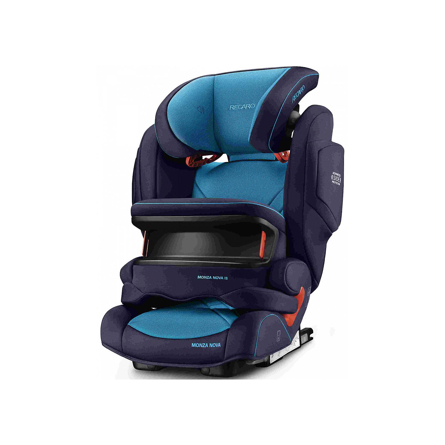 Автокресло Monza Nova IS Seatfix 9-36 кг., Recaro, Xenon BlueХарактеристики:<br><br>• группа: 1/2/3;<br>• вес ребенка: 9-36 кг;<br>• возраст ребенка: от 9 месяцев до 12 лет;<br>• способ крепления: IsoFix или штатными ремнями безопасности автомобиля;<br>• способ установки: лицом по ходу движения автомобиля;<br>• регулируется высота подголовника: 11 положений;<br>• имеется ростомер;<br>• регулируется глубина подголовника;<br>• перед ребенком находится специальный жесткий столик, который обеспечивает максимальную защиту ребенка от ударов при столкновении и резком торможении;<br>• угол наклона спинки подгоняется под угол сиденья автомобиля, слегка откидывается назад;<br>• имеются подлокотники, высота не меняется;<br>• сетчатый кармашек на боковой стороне автокресла;<br>• под сиденьем автокресла имеются пластиковые опорные элементы;<br>• в боковинках автокресла находятся встроенные динамики;<br>• усиленная боковая защита, 12 см;<br>• материал: пластик, полиэстер;<br>• размеры автокресла: 48х55х74 см;<br>• вес: 8 кг.<br><br>Автокресло Monza Nova IS Seatfix будет сопровождать вас и вашего кроху вплоть до достижения ребенком возраста 12 лет. Автокресло укомплектовано дополнительными аксессуарами для наибольшей безопасности ребенка на каждом этапе его взросления. Когда вес малыша находится в пределах 9-18 кг, эргономичный защитный столик вместе с 3-х точечным ремнем безопасности автомобиля обеспечивают максимальную безопасность. Автокресло обязательно используется со столиком, пока кроха не достигнет определенного роста и веса (95 см/18 кг).<br><br>Автокресло устанавливается на заднем сидении автомобиля с помощью системы Изофикс. Выдвижные крепления кресла совмещаются с системой Изофикс в автомобиле.<br>Обивка автокресла выполнена из дышащего материала, который не впитывает посторонние запахи. Автокресло оснащено вентиляционными отверстиями для циркуляции воздуха и регуляции теплообмена. Чехлы автокресла съемные, допускается стирка при температуре 30 градусов.<br><br>Комплек