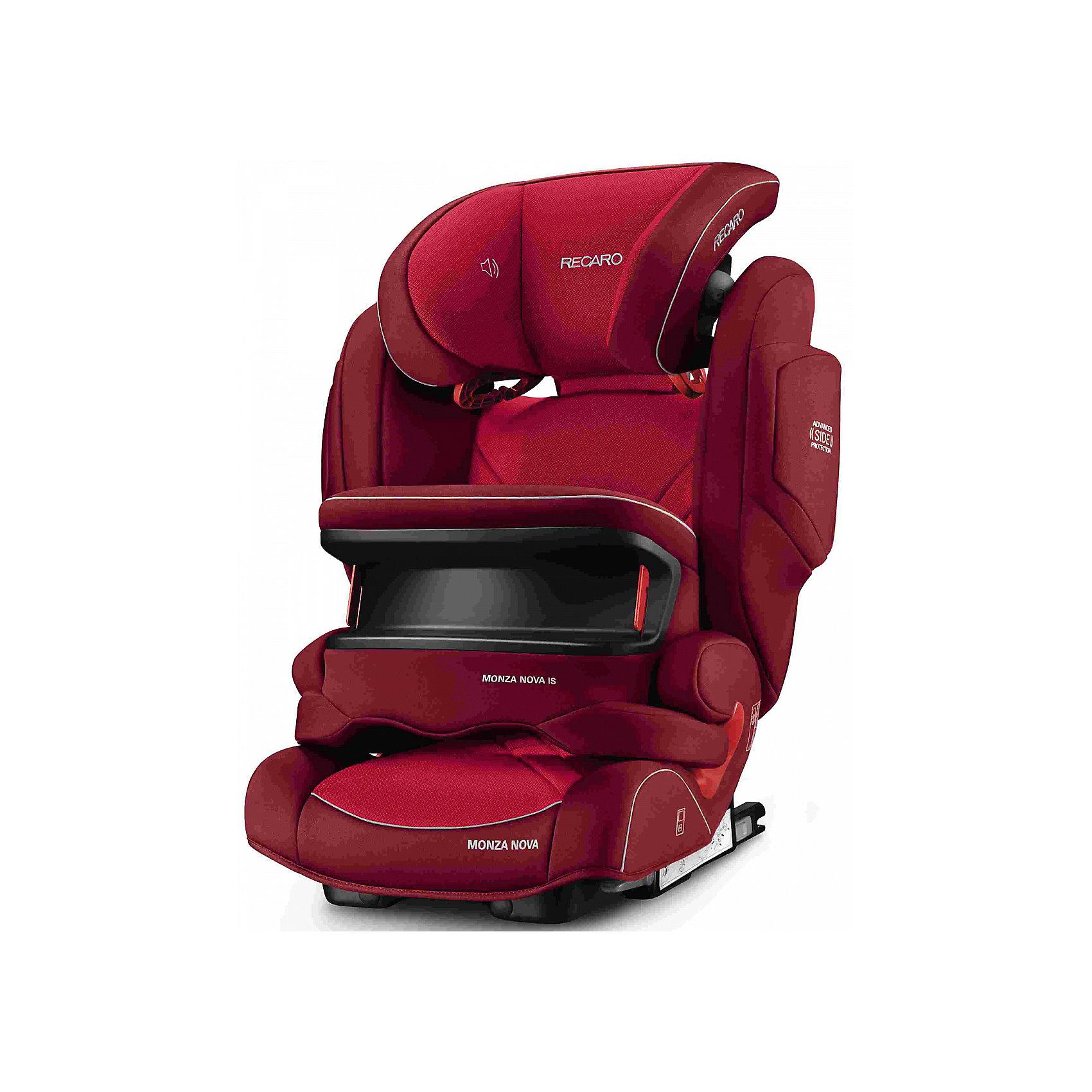Автокресло Monza Nova IS Seatfix 9-36 кг., Recaro, Indy RedХарактеристики:<br><br>• группа: 1/2/3;<br>• вес ребенка: 9-36 кг;<br>• возраст ребенка: от 9 месяцев до 12 лет;<br>• способ крепления: IsoFix или штатными ремнями безопасности автомобиля;<br>• способ установки: лицом по ходу движения автомобиля;<br>• регулируется высота подголовника: 11 положений;<br>• имеется ростомер;<br>• регулируется глубина подголовника;<br>• перед ребенком находится специальный жесткий столик, который обеспечивает максимальную защиту ребенка от ударов при столкновении и резком торможении;<br>• угол наклона спинки подгоняется под угол сиденья автомобиля, слегка откидывается назад;<br>• имеются подлокотники, высота не меняется;<br>• сетчатый кармашек на боковой стороне автокресла;<br>• под сиденьем автокресла имеются пластиковые опорные элементы;<br>• в боковинках автокресла находятся встроенные динамики;<br>• усиленная боковая защита, 12 см;<br>• материал: пластик, полиэстер;<br>• размеры автокресла: 48х55х74 см;<br>• вес: 8 кг.<br><br>Автокресло Monza Nova IS Seatfix будет сопровождать вас и вашего кроху вплоть до достижения ребенком возраста 12 лет. Автокресло укомплектовано дополнительными аксессуарами для наибольшей безопасности ребенка на каждом этапе его взросления. Когда вес малыша находится в пределах 9-18 кг, эргономичный защитный столик вместе с 3-х точечным ремнем безопасности автомобиля обеспечивают максимальную безопасность. Автокресло обязательно используется со столиком, пока кроха не достигнет определенного роста и веса (95 см/18 кг).<br><br>Автокресло устанавливается на заднем сидении автомобиля с помощью системы Изофикс. Выдвижные крепления кресла совмещаются с системой Изофикс в автомобиле.<br>Обивка автокресла выполнена из дышащего материала, который не впитывает посторонние запахи. Автокресло оснащено вентиляционными отверстиями для циркуляции воздуха и регуляции теплообмена. Чехлы автокресла съемные, допускается стирка при температуре 30 градусов.<br><br>Комплекта