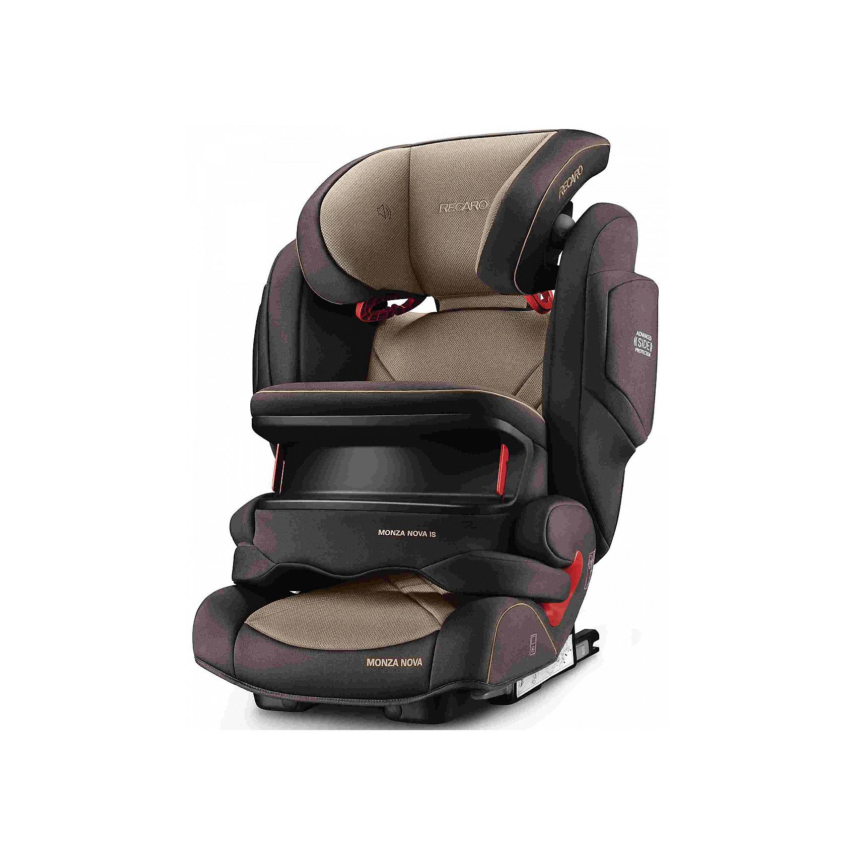 Автокресло RECARO Monza Nova IS Seatfix 9-36 кг, Dakar SendГруппа 1-2-3 (От 9 до 36 кг)<br>Характеристики:<br><br>• группа: 1/2/3;<br>• вес ребенка: 9-36 кг;<br>• возраст ребенка: от 9 месяцев до 12 лет;<br>• способ крепления: IsoFix или штатными ремнями безопасности автомобиля;<br>• способ установки: лицом по ходу движения автомобиля;<br>• регулируется высота подголовника: 11 положений;<br>• имеется ростомер;<br>• регулируется глубина подголовника;<br>• перед ребенком находится специальный жесткий столик, который обеспечивает максимальную защиту ребенка от ударов при столкновении и резком торможении;<br>• угол наклона спинки подгоняется под угол сиденья автомобиля, слегка откидывается назад;<br>• имеются подлокотники, высота не меняется;<br>• сетчатый кармашек на боковой стороне автокресла;<br>• под сиденьем автокресла имеются пластиковые опорные элементы;<br>• в боковинках автокресла находятся встроенные динамики;<br>• усиленная боковая защита, 12 см;<br>• материал: пластик, полиэстер;<br>• размеры автокресла: 48х55х74 см;<br>• вес: 8 кг.<br><br>Автокресло Monza Nova IS Seatfix будет сопровождать вас и вашего кроху вплоть до достижения ребенком возраста 12 лет. Автокресло укомплектовано дополнительными аксессуарами для наибольшей безопасности ребенка на каждом этапе его взросления. Когда вес малыша находится в пределах 9-18 кг, эргономичный защитный столик вместе с 3-х точечным ремнем безопасности автомобиля обеспечивают максимальную безопасность. Автокресло обязательно используется со столиком, пока кроха не достигнет определенного роста и веса (95 см/18 кг).<br><br>Автокресло устанавливается на заднем сидении автомобиля с помощью системы Изофикс. Выдвижные крепления кресла совмещаются с системой Изофикс в автомобиле.<br>Обивка автокресла выполнена из дышащего материала, который не впитывает посторонние запахи. Автокресло оснащено вентиляционными отверстиями для циркуляции воздуха и регуляции теплообмена. Чехлы автокресла съемные, допускается стирка при температу