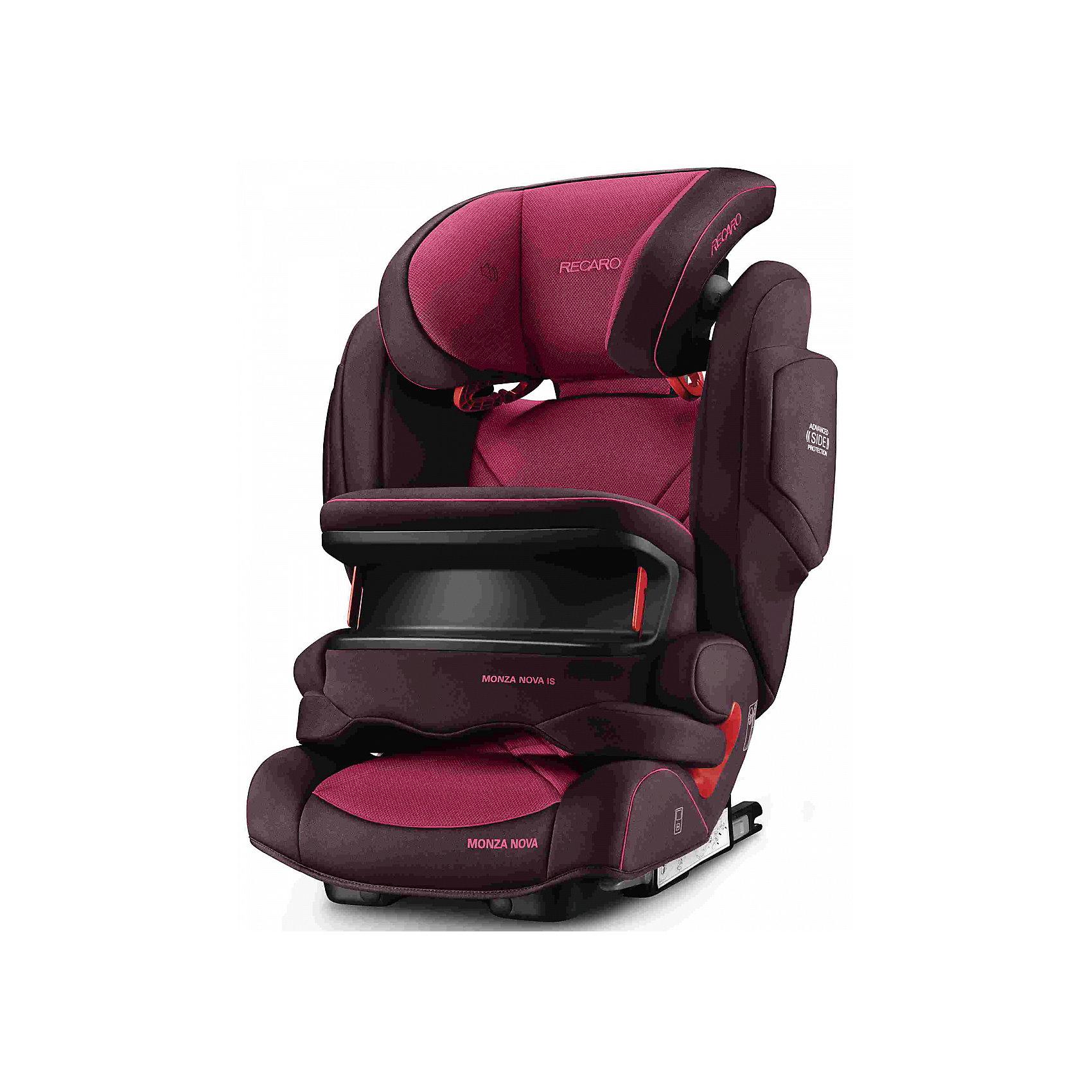 Автокресло Monza Nova IS Seatfix 9-36 кг., Recaro,  Power BerryХарактеристики:<br><br>• группа: 1/2/3;<br>• вес ребенка: 9-36 кг;<br>• возраст ребенка: от 9 месяцев до 12 лет;<br>• способ крепления: IsoFix или штатными ремнями безопасности автомобиля;<br>• способ установки: лицом по ходу движения автомобиля;<br>• регулируется высота подголовника: 11 положений;<br>• имеется ростомер;<br>• регулируется глубина подголовника;<br>• перед ребенком находится специальный жесткий столик, который обеспечивает максимальную защиту ребенка от ударов при столкновении и резком торможении;<br>• угол наклона спинки подгоняется под угол сиденья автомобиля, слегка откидывается назад;<br>• имеются подлокотники, высота не меняется;<br>• сетчатый кармашек на боковой стороне автокресла;<br>• под сиденьем автокресла имеются пластиковые опорные элементы;<br>• в боковинках автокресла находятся встроенные динамики;<br>• усиленная боковая защита, 12 см;<br>• материал: пластик, полиэстер;<br>• размеры автокресла: 48х55х74 см;<br>• вес: 8 кг.<br><br>Автокресло Monza Nova IS Seatfix будет сопровождать вас и вашего кроху вплоть до достижения ребенком возраста 12 лет. Автокресло укомплектовано дополнительными аксессуарами для наибольшей безопасности ребенка на каждом этапе его взросления. Когда вес малыша находится в пределах 9-18 кг, эргономичный защитный столик вместе с 3-х точечным ремнем безопасности автомобиля обеспечивают максимальную безопасность. Автокресло обязательно используется со столиком, пока кроха не достигнет определенного роста и веса (95 см/18 кг).<br><br>Автокресло устанавливается на заднем сидении автомобиля с помощью системы Изофикс. Выдвижные крепления кресла совмещаются с системой Изофикс в автомобиле.<br>Обивка автокресла выполнена из дышащего материала, который не впитывает посторонние запахи. Автокресло оснащено вентиляционными отверстиями для циркуляции воздуха и регуляции теплообмена. Чехлы автокресла съемные, допускается стирка при температуре 30 градусов.<br><br>Компл