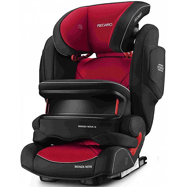 Автокресло RECARO Monza Nova IS Seatfix 9-36 кг, Racing RedГруппа 1-2-3  (от 9 до 36 кг)<br>Характеристики:<br><br>• группа: 1/2/3;<br>• вес ребенка: 9-36 кг;<br>• возраст ребенка: от 9 месяцев до 12 лет;<br>• способ крепления: IsoFix или штатными ремнями безопасности автомобиля;<br>• способ установки: лицом по ходу движения автомобиля;<br>• регулируется высота подголовника: 11 положений;<br>• имеется ростомер;<br>• регулируется глубина подголовника;<br>• перед ребенком находится специальный жесткий столик, который обеспечивает максимальную защиту ребенка от ударов при столкновении и резком торможении;<br>• угол наклона спинки подгоняется под угол сиденья автомобиля, слегка откидывается назад;<br>• имеются подлокотники, высота не меняется;<br>• сетчатый кармашек на боковой стороне автокресла;<br>• под сиденьем автокресла имеются пластиковые опорные элементы;<br>• в боковинках автокресла находятся встроенные динамики;<br>• усиленная боковая защита, 12 см;<br>• материал: пластик, полиэстер;<br>• размеры автокресла: 48х55х74 см;<br>• вес: 8 кг.<br><br>Автокресло Monza Nova IS Seatfix будет сопровождать вас и вашего кроху вплоть до достижения ребенком возраста 12 лет. Автокресло укомплектовано дополнительными аксессуарами для наибольшей безопасности ребенка на каждом этапе его взросления. Когда вес малыша находится в пределах 9-18 кг, эргономичный защитный столик вместе с 3-х точечным ремнем безопасности автомобиля обеспечивают максимальную безопасность. Автокресло обязательно используется со столиком, пока кроха не достигнет определенного роста и веса (95 см/18 кг).<br><br>Автокресло устанавливается на заднем сидении автомобиля с помощью системы Изофикс. Выдвижные крепления кресла совмещаются с системой Изофикс в автомобиле.<br>Обивка автокресла выполнена из дышащего материала, который не впитывает посторонние запахи. Автокресло оснащено вентиляционными отверстиями для циркуляции воздуха и регуляции теплообмена. Чехлы автокресла съемные, допускается стирка при температ