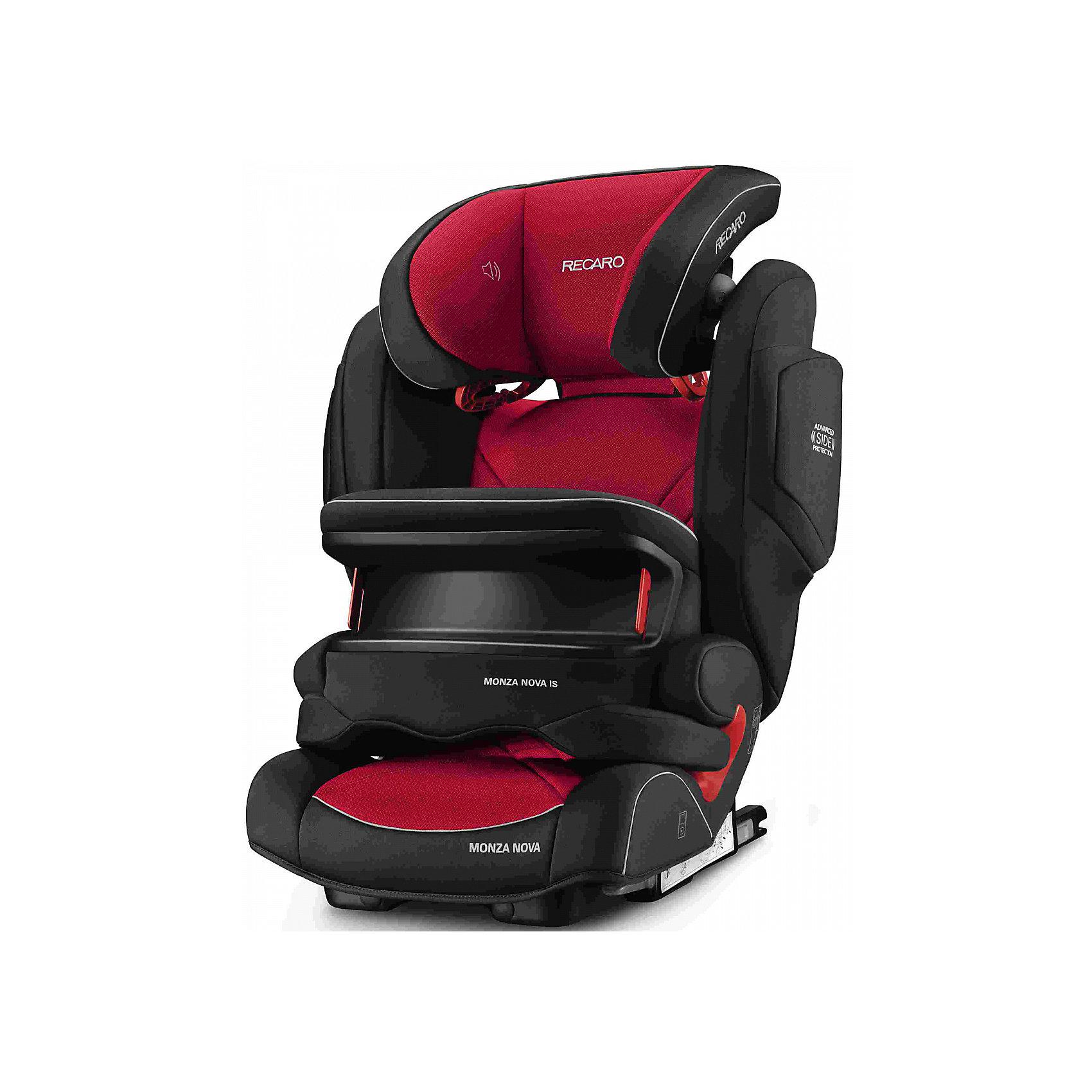 Автокресло RECARO Monza Nova IS Seatfix 9-36 кг, Racing RedГруппа 1-2-3 (От 9 до 36 кг)<br>Характеристики:<br><br>• группа: 1/2/3;<br>• вес ребенка: 9-36 кг;<br>• возраст ребенка: от 9 месяцев до 12 лет;<br>• способ крепления: IsoFix или штатными ремнями безопасности автомобиля;<br>• способ установки: лицом по ходу движения автомобиля;<br>• регулируется высота подголовника: 11 положений;<br>• имеется ростомер;<br>• регулируется глубина подголовника;<br>• перед ребенком находится специальный жесткий столик, который обеспечивает максимальную защиту ребенка от ударов при столкновении и резком торможении;<br>• угол наклона спинки подгоняется под угол сиденья автомобиля, слегка откидывается назад;<br>• имеются подлокотники, высота не меняется;<br>• сетчатый кармашек на боковой стороне автокресла;<br>• под сиденьем автокресла имеются пластиковые опорные элементы;<br>• в боковинках автокресла находятся встроенные динамики;<br>• усиленная боковая защита, 12 см;<br>• материал: пластик, полиэстер;<br>• размеры автокресла: 48х55х74 см;<br>• вес: 8 кг.<br><br>Автокресло Monza Nova IS Seatfix будет сопровождать вас и вашего кроху вплоть до достижения ребенком возраста 12 лет. Автокресло укомплектовано дополнительными аксессуарами для наибольшей безопасности ребенка на каждом этапе его взросления. Когда вес малыша находится в пределах 9-18 кг, эргономичный защитный столик вместе с 3-х точечным ремнем безопасности автомобиля обеспечивают максимальную безопасность. Автокресло обязательно используется со столиком, пока кроха не достигнет определенного роста и веса (95 см/18 кг).<br><br>Автокресло устанавливается на заднем сидении автомобиля с помощью системы Изофикс. Выдвижные крепления кресла совмещаются с системой Изофикс в автомобиле.<br>Обивка автокресла выполнена из дышащего материала, который не впитывает посторонние запахи. Автокресло оснащено вентиляционными отверстиями для циркуляции воздуха и регуляции теплообмена. Чехлы автокресла съемные, допускается стирка при температу