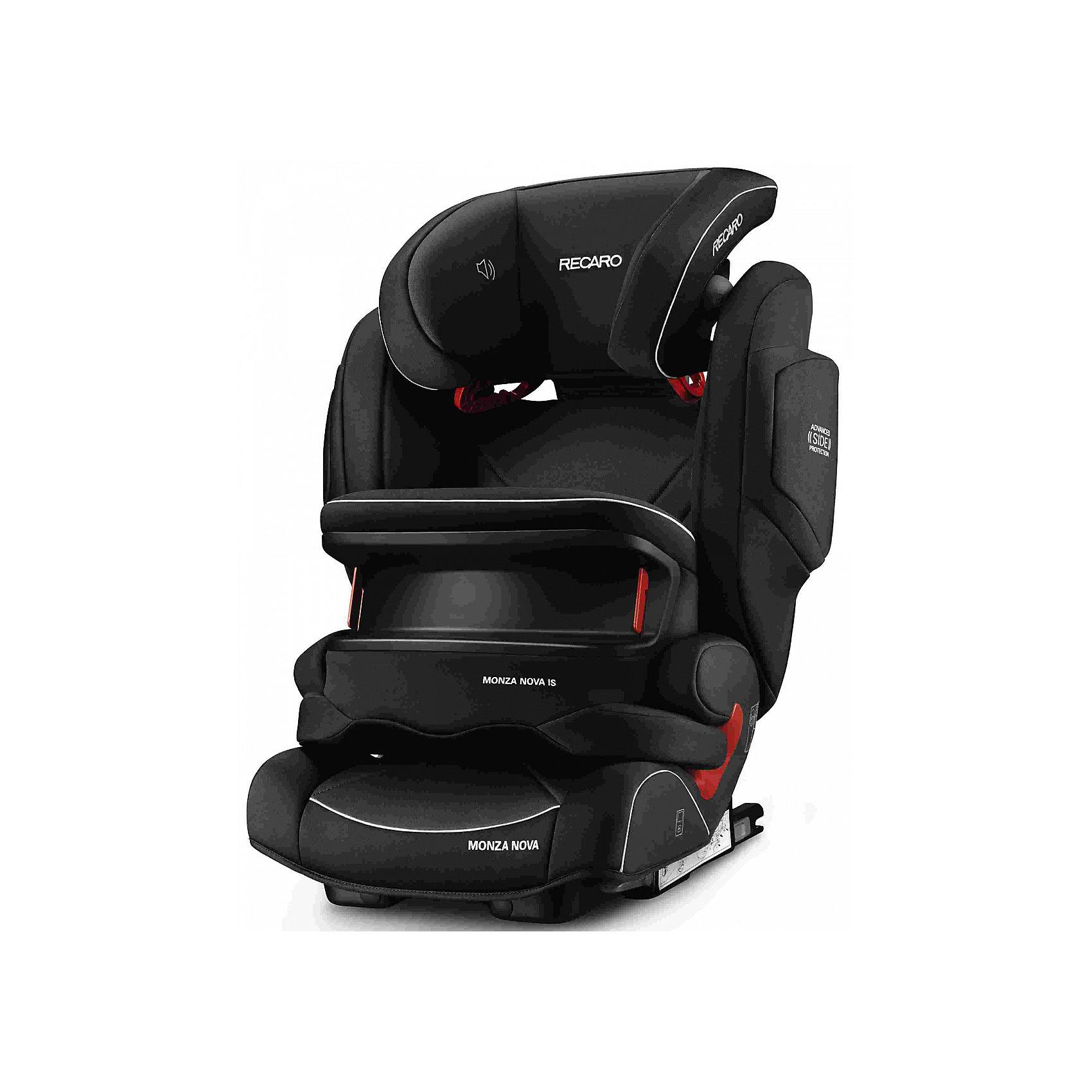 Автокресло RECARO Monza Nova IS Seatfix 9-36 кг, Perfomance BlackГруппа 1-2-3 (От 9 до 36 кг)<br>Характеристики:<br><br>• группа: 1/2/3;<br>• вес ребенка: 9-36 кг;<br>• возраст ребенка: от 9 месяцев до 12 лет;<br>• способ крепления: IsoFix или штатными ремнями безопасности автомобиля;<br>• способ установки: лицом по ходу движения автомобиля;<br>• регулируется высота подголовника: 11 положений;<br>• имеется ростомер;<br>• регулируется глубина подголовника;<br>• перед ребенком находится специальный жесткий столик, который обеспечивает максимальную защиту ребенка от ударов при столкновении и резком торможении;<br>• угол наклона спинки подгоняется под угол сиденья автомобиля, слегка откидывается назад;<br>• имеются подлокотники, высота не меняется;<br>• сетчатый кармашек на боковой стороне автокресла;<br>• под сиденьем автокресла имеются пластиковые опорные элементы;<br>• в боковинках автокресла находятся встроенные динамики;<br>• усиленная боковая защита, 12 см;<br>• материал: пластик, полиэстер;<br>• размеры автокресла: 48х55х74 см;<br>• вес: 8 кг.<br><br>Автокресло Monza Nova IS Seatfix будет сопровождать вас и вашего кроху вплоть до достижения ребенком возраста 12 лет. Автокресло укомплектовано дополнительными аксессуарами для наибольшей безопасности ребенка на каждом этапе его взросления. Когда вес малыша находится в пределах 9-18 кг, эргономичный защитный столик вместе с 3-х точечным ремнем безопасности автомобиля обеспечивают максимальную безопасность. Автокресло обязательно используется со столиком, пока кроха не достигнет определенного роста и веса (95 см/18 кг).<br><br>Автокресло устанавливается на заднем сидении автомобиля с помощью системы Изофикс. Выдвижные крепления кресла совмещаются с системой Изофикс в автомобиле.<br>Обивка автокресла выполнена из дышащего материала, который не впитывает посторонние запахи. Автокресло оснащено вентиляционными отверстиями для циркуляции воздуха и регуляции теплообмена. Чехлы автокресла съемные, допускается стирка при тем