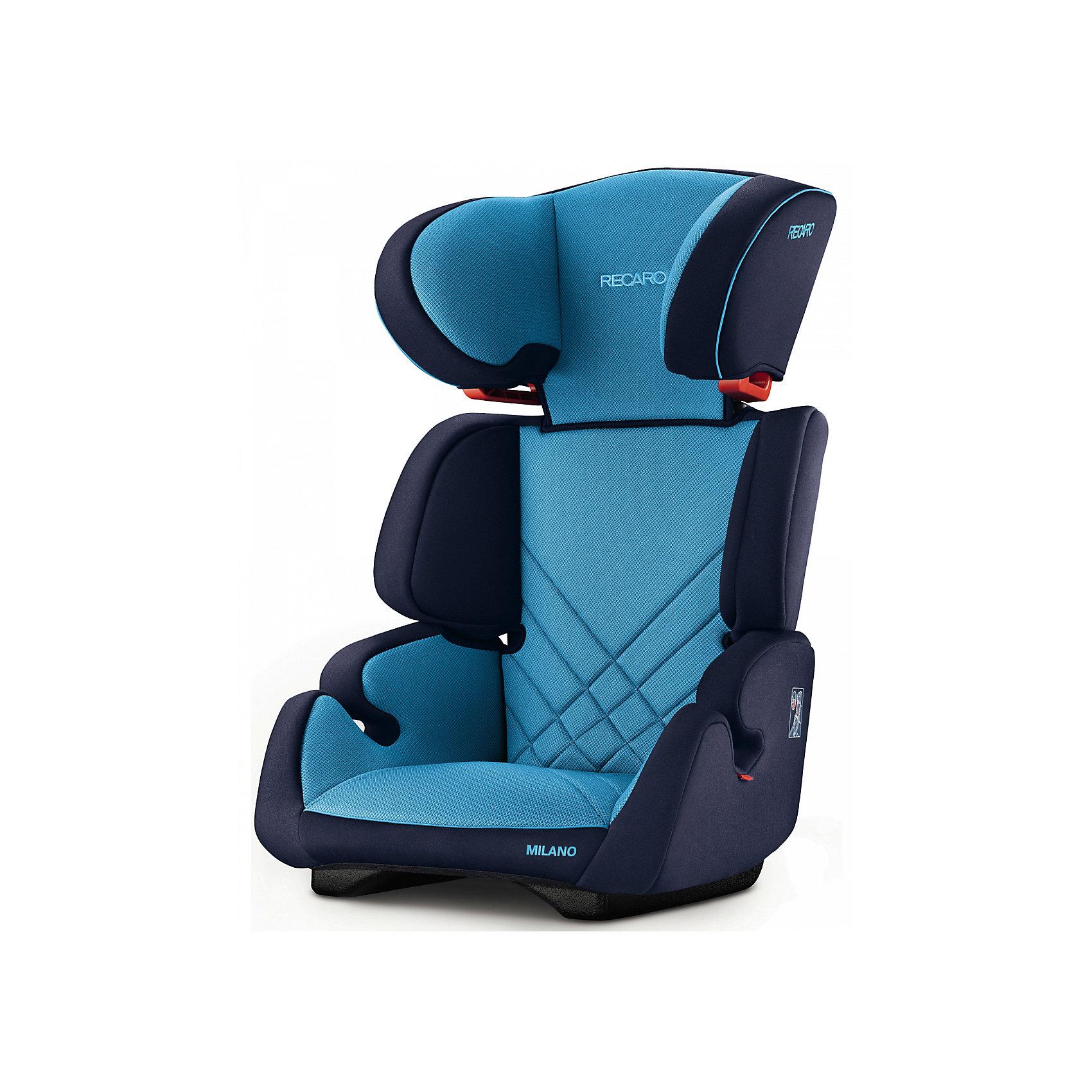 Автокресло RECARO Milano Seatfix 15-36 кг, Xenon BlueГруппа 2-3 (От 15 до 36 кг)<br>Характеристики:<br><br>• группа автокресла: 2/3;<br>• вес ребенка: 15-36 кг;<br>• возраст ребенка: от 3 до 12 лет;<br>• рост ребенка: от 95 до 150 см;<br>• способ крепления: встроенная система IsoFix;<br>• способ установки: лицом по ходу движения автомобиля;<br>• регулируется высота подголовника: 6 положений;<br>• циркуляция воздуха внутри автокресла;<br>• наличие подлокотников;<br>• усиленная боковая защита;<br>• материал: пластик, полиэстер.<br><br>Размеры:<br><br>• размер автокресла: 61х50х45 см;<br>• высота спинки автокресла: 55/67 см;<br>• ширина сиденья: 29 см;<br>• глубина сиденья: 29 см;<br>• ширина подголовника: 20 см;<br>• вес: 6 кг.<br><br>Автокресло Milano Seatfix - продуманный вариант для подросших любителей путешествовать в автомобиле. Автокресло устанавливается на заднем сидении автомобиля с любой стороны. Встроенная система Изофикс позволяет легко и прочно устанавливать автокресло в салоне автомобиля. Регулирование высоты подголовника дает возможность настроить удобное положение в зависимости от того, как ребенок растет. Съемные чехлы можно стирать при температуре 30 градусов без отжима. <br><br>Автокресло Milano Seatfix 15-36 кг., Recaro, Xenon Blue можно купить в нашем интернет-магазине.<br><br>Ширина мм: 610<br>Глубина мм: 500<br>Высота мм: 450<br>Вес г: 6000<br>Возраст от месяцев: 36<br>Возраст до месяцев: 144<br>Пол: Мужской<br>Возраст: Детский<br>SKU: 5396743