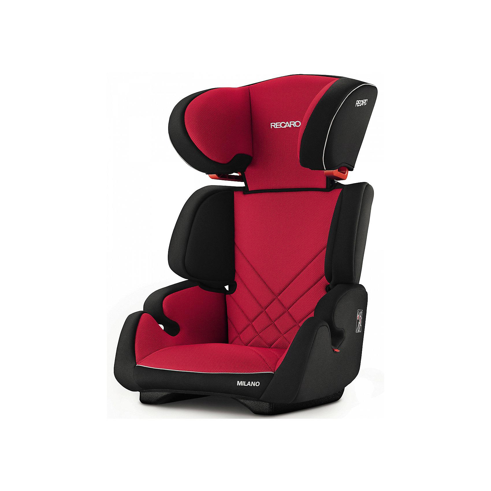 Автокресло Milano Seatfix 15-36 кг., Recaro, Racing RedХарактеристики:<br><br>• группа автокресла: 2/3;<br>• вес ребенка: 15-36 кг;<br>• возраст ребенка: от 3 до 12 лет;<br>• рост ребенка: от 95 до 150 см;<br>• способ крепления: встроенная система IsoFix;<br>• способ установки: лицом по ходу движения автомобиля;<br>• регулируется высота подголовника: 6 положений;<br>• циркуляция воздуха внутри автокресла;<br>• наличие подлокотников;<br>• усиленная боковая защита;<br>• материал: пластик, полиэстер.<br><br>Размеры:<br><br>• размер автокресла: 61х50х45 см;<br>• высота спинки автокресла: 55/67 см;<br>• ширина сиденья: 29 см;<br>• глубина сиденья: 29 см;<br>• ширина подголовника: 20 см;<br>• вес: 6 кг.<br><br>Автокресло Milano Seatfix - продуманный вариант для подросших любителей путешествовать в автомобиле. Автокресло устанавливается на заднем сидении автомобиля с любой стороны. Встроенная система Изофикс позволяет легко и прочно устанавливать автокресло в салоне автомобиля. Регулирование высоты подголовника дает возможность настроить удобное положение в зависимости от того, как ребенок растет. Съемные чехлы можно стирать при температуре 30 градусов без отжима. <br><br>Автокресло Milano Seatfix 15-36 кг., Recaro, Racing Red можно купить в нашем интернет-магазине.<br><br>Ширина мм: 610<br>Глубина мм: 500<br>Высота мм: 450<br>Вес г: 6000<br>Возраст от месяцев: 36<br>Возраст до месяцев: 144<br>Пол: Унисекс<br>Возраст: Детский<br>SKU: 5396745