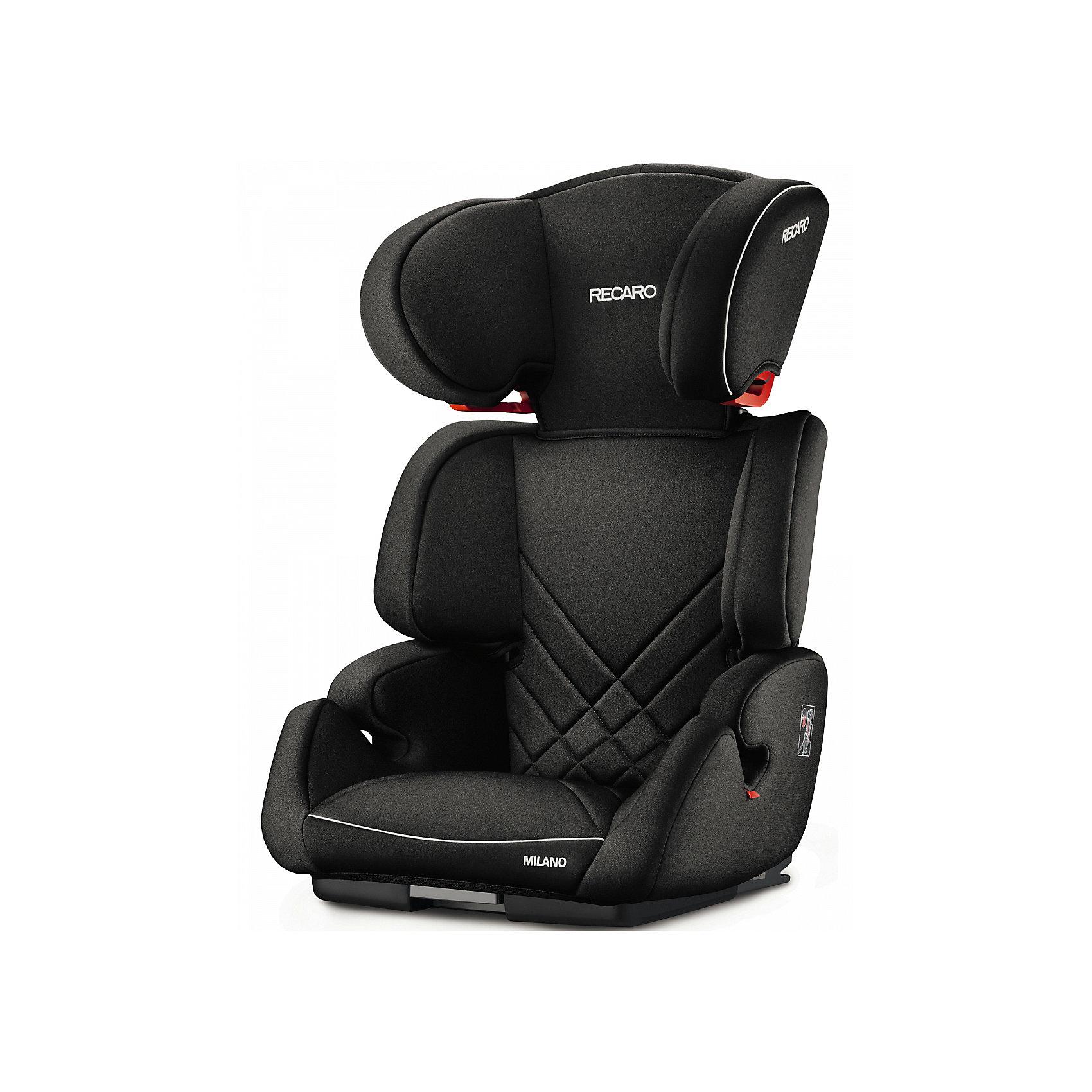 Автокресло Milano Seatfix 15-36 кг., Recaro, Performance BlackХарактеристики:<br><br>• группа автокресла: 2/3;<br>• вес ребенка: 15-36 кг;<br>• возраст ребенка: от 3 до 12 лет;<br>• рост ребенка: от 95 до 150 см;<br>• способ крепления: встроенная система IsoFix;<br>• способ установки: лицом по ходу движения автомобиля;<br>• регулируется высота подголовника: 6 положений;<br>• циркуляция воздуха внутри автокресла;<br>• наличие подлокотников;<br>• усиленная боковая защита;<br>• материал: пластик, полиэстер.<br><br>Размеры:<br><br>• размер автокресла: 61х50х45 см;<br>• высота спинки автокресла: 55/67 см;<br>• ширина сиденья: 29 см;<br>• глубина сиденья: 29 см;<br>• ширина подголовника: 20 см;<br>• вес: 6 кг.<br><br>Автокресло Milano Seatfix - продуманный вариант для подросших любителей путешествовать в автомобиле. Автокресло устанавливается на заднем сидении автомобиля с любой стороны. Встроенная система Изофикс позволяет легко и прочно устанавливать автокресло в салоне автомобиля. Регулирование высоты подголовника дает возможность настроить удобное положение в зависимости от того, как ребенок растет. Съемные чехлы можно стирать при температуре 30 градусов без отжима. <br><br>Автокресло Milano Seatfix 15-36 кг., Recaro, Performance Black можно купить в нашем интернет-магазине.<br><br>Ширина мм: 610<br>Глубина мм: 500<br>Высота мм: 450<br>Вес г: 6000<br>Возраст от месяцев: 36<br>Возраст до месяцев: 144<br>Пол: Унисекс<br>Возраст: Детский<br>SKU: 5396746