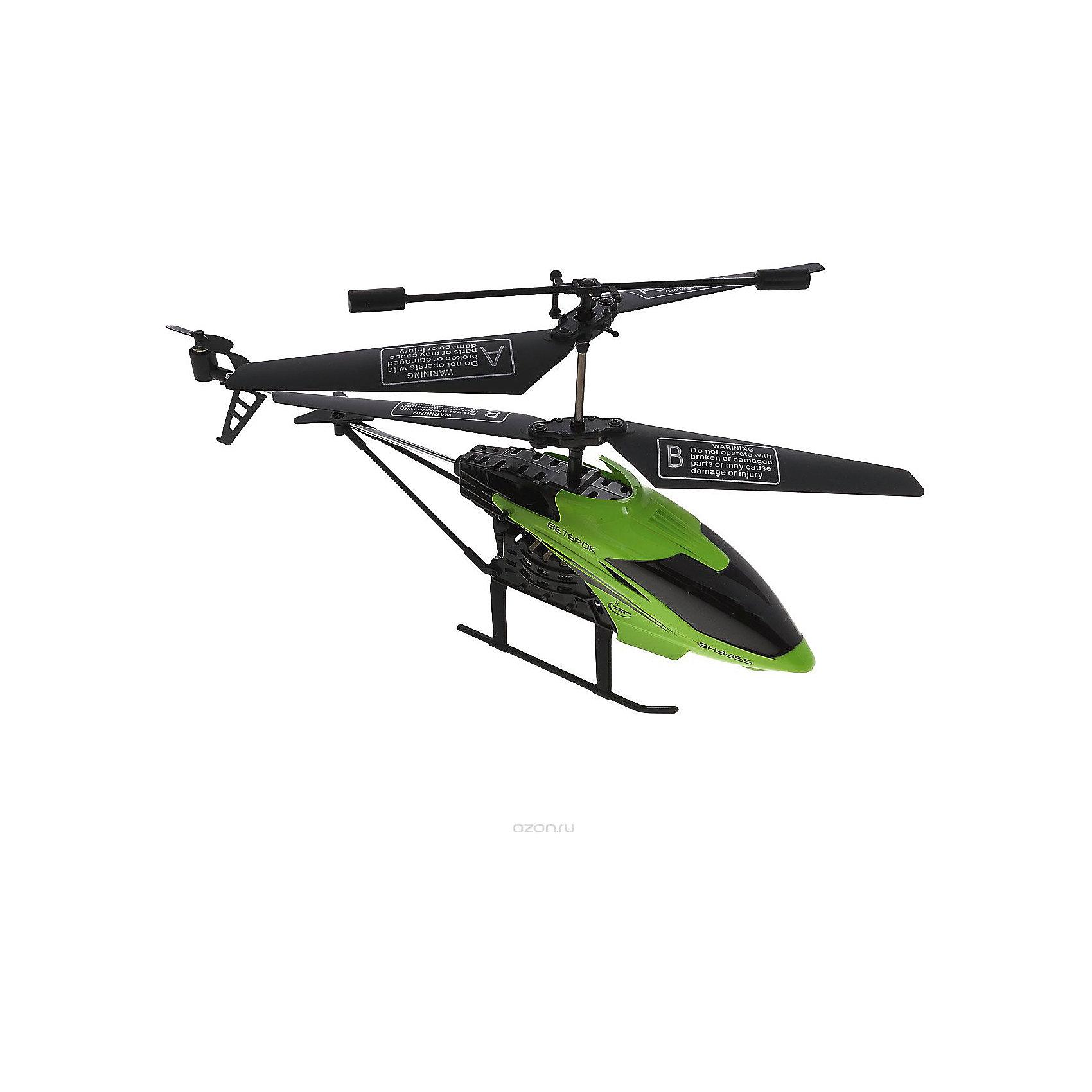 Вертолет на р/у Ветерок, зеленый, Властелин небесРадиоуправляемый транспорт<br>Вертолет на р/у Ветерок, зеленый, Властелин небес<br><br>Характеристики:<br><br>• летает вверх, вниз, влево и вправо<br>• поворачивается, вращается и зависает в воздухе<br>• яркий прожектор<br>• встроенный гироскоп<br>• устойчив к повреждениям<br>• время игры: 7 минут<br>• время зарядки: 30 минут<br>• размер игрушки: 23х5х12 см<br>• размер пульта: 13х11х5 см<br>• радиус действия: 10 метров<br>• в комплекте: вертолет, пульт управления, зарядное устройство, инструкция<br>• батарейки: АА - 6 шт. (не входят в комплект)<br>• размер упаковки: 44х17х8 см<br>• вес: 540 грамм<br>• цвет: зеленый<br><br>Вертолет Ветерок - прекрасный подарок для детей и взрослый. Вертолет управляется с помощью пульта и умеет летать вправо, влево, вверх и вниз. Ветерок разворачивается, вращается, а благодаря встроенному гироскопу, парит в воздухе. Прочная конструкция защищает игрушку от повреждений при случайных падениях. Яркий светящийся прожектор освещает путь вертолета в темноте. Выглядит это очень завораживающе! Время работы игрушки при полной зарядке около 10 минут. Зарядите вертолет в течение получайся и наслаждайтесь прекрасным 3D полетом Ветерка!<br>Для работы необходимы 6 батареек АА (не входят в комплект).<br><br>Вертолет на р/у Ветерок, зеленый, Властелин небес вы можете купить в нашем интернет-магазине.<br><br>Ширина мм: 75<br>Глубина мм: 430<br>Высота мм: 170<br>Вес г: 575<br>Возраст от месяцев: 144<br>Возраст до месяцев: 2147483647<br>Пол: Мужской<br>Возраст: Детский<br>SKU: 5397102