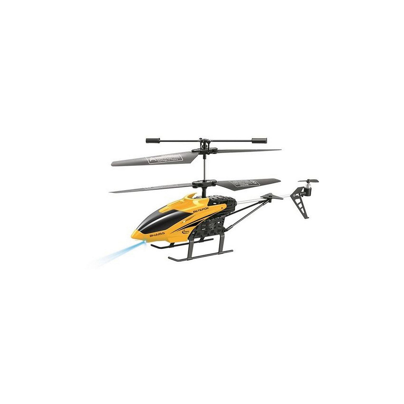 Вертолет на р/у Ветерок, желтый, Властелин небесРадиоуправляемый транспорт<br>Вертолет на р/у Ветерок, желтый, Властелин небес<br><br>Характеристики:<br><br>• летает вверх, вниз, влево и вправо<br>• поворачивается, вращается и зависает в воздухе<br>• яркий прожектор<br>• встроенный гироскоп<br>• устойчив к повреждениям<br>• время игры: 7 минут<br>• время зарядки: 30 минут<br>• размер игрушки: 23х5х12 см<br>• размер пульта: 13х11х5 см<br>• радиус действия: 10 метров<br>• в комплекте: вертолет, пульт управления, зарядное устройство, инструкция<br>• батарейки: АА - 6 шт. (не входят в комплект)<br>• размер упаковки: 44х17х8 см<br>• вес: 540 грамм<br>• цвет: желтый<br><br>Вертолет Ветерок - прекрасный подарок для детей и взрослый. Вертолет управляется с помощью пульта и умеет летать вправо, влево, вверх и вниз. Ветерок разворачивается, вращается, а благодаря встроенному гироскопу, парит в воздухе. Прочная конструкция защищает игрушку от повреждений при случайных падениях. Яркий светящийся прожектор освещает путь вертолета в темноте. Выглядит это очень завораживающе! Время работы игрушки при полной зарядке около 10 минут. Зарядите вертолет в течение получайся и наслаждайтесь прекрасным 3D полетом Ветерка!<br>Для работы необходимы 6 батареек АА (не входят в комплект).<br><br>Вертолет на р/у Ветерок, желтый, Властелин небес вы можете купить в нашем интернет-магазине.<br><br>Ширина мм: 75<br>Глубина мм: 430<br>Высота мм: 170<br>Вес г: 575<br>Возраст от месяцев: 144<br>Возраст до месяцев: 2147483647<br>Пол: Мужской<br>Возраст: Детский<br>SKU: 5397104