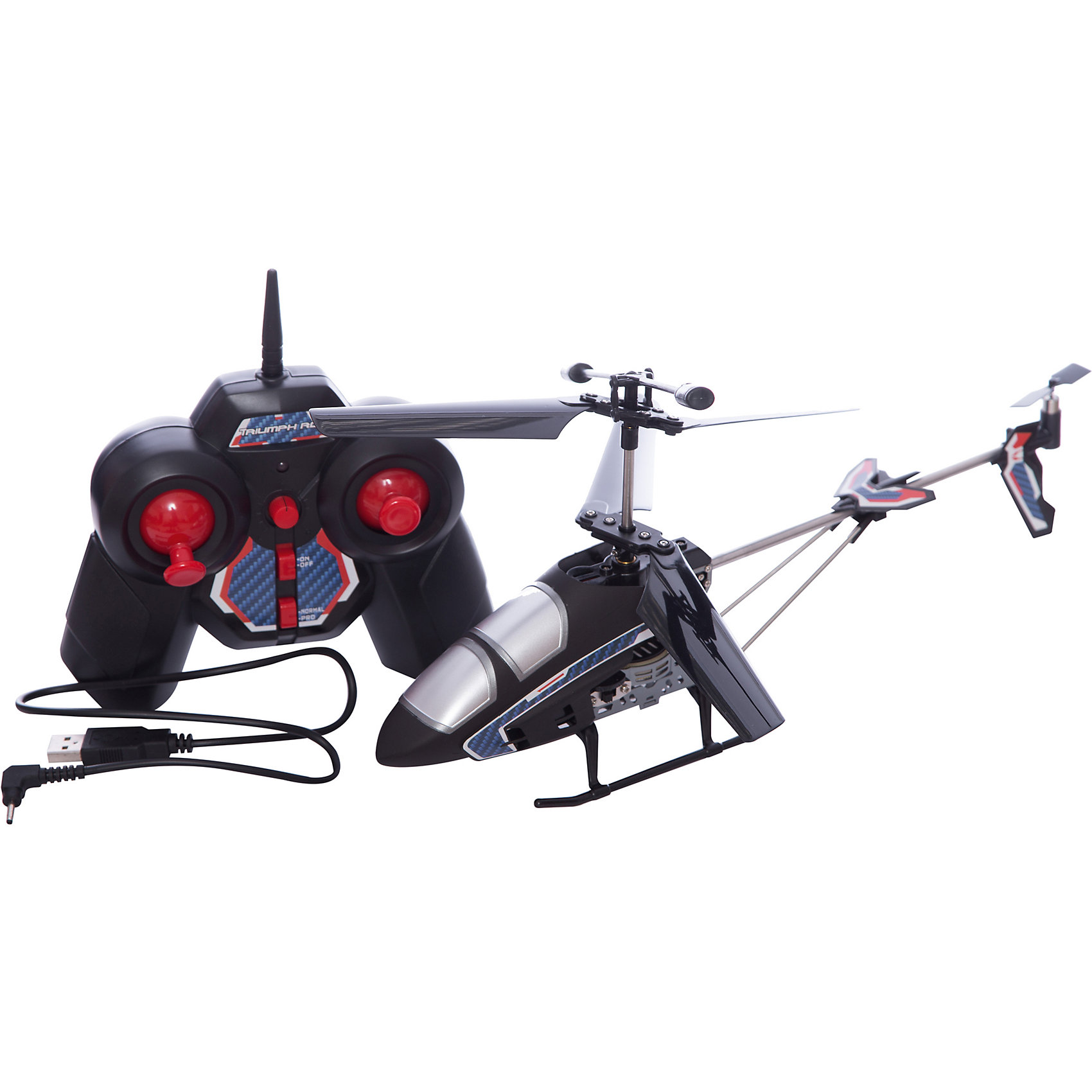 Вертолет Триумф на р/у, Властелин небесРадиоуправляемый транспорт<br>Вертолет Триумф на р/у, Властелин небес<br><br>Характеристики:<br><br>• 3 канала управления<br>• летает вверх, вниз, вперёд, назад и вбок<br>• переворачивается и зависает в воздухе<br>• яркий прожектор<br>• время игры: 6 минут<br>• время зарядки: 50 минут<br>• дальность действия: до 50 метров<br>• частота: 2.5 МГц<br>• аккумулятор: 3.7 Li-poli<br>• размер: 30х6х15 см<br>• вес: 1,2 кг<br>• размер упаковки: 56х9х18 см<br>• 9V Крона - 1 шт. (не входит в комплект)<br><br>Радиоуправляемый вертолёт Триумф отлично подойдет для весёлых игр во время прогулки. Дальность действия составляет 50 метров, что позволяет управлять вертолетом, не сходя с места. Триумф движется в любых направлениях, а также разворачивается и зависает в воздухе. Стабильность полёта обеспечивает встроенный гироскоп. Время игры при полной зарядке - 6 минут. Время подзарядки - до 50 минут. Игрушка имеет стильный и привлекательный дизайн. Ко всему прочему, игрушка имеет функцию турбо ускорения, которая позволяет ей совершать различные пируэты на высокой скорости.<br>Для работы необходима батарейка 9V Крона (не входит в комплект).<br><br>Вертолет Триумф на р/у, Властелин небес можно купить в нашем интернет-магазине.<br><br>Ширина мм: 95<br>Глубина мм: 550<br>Высота мм: 175<br>Вес г: 575<br>Возраст от месяцев: 144<br>Возраст до месяцев: 2147483647<br>Пол: Мужской<br>Возраст: Детский<br>SKU: 5397109