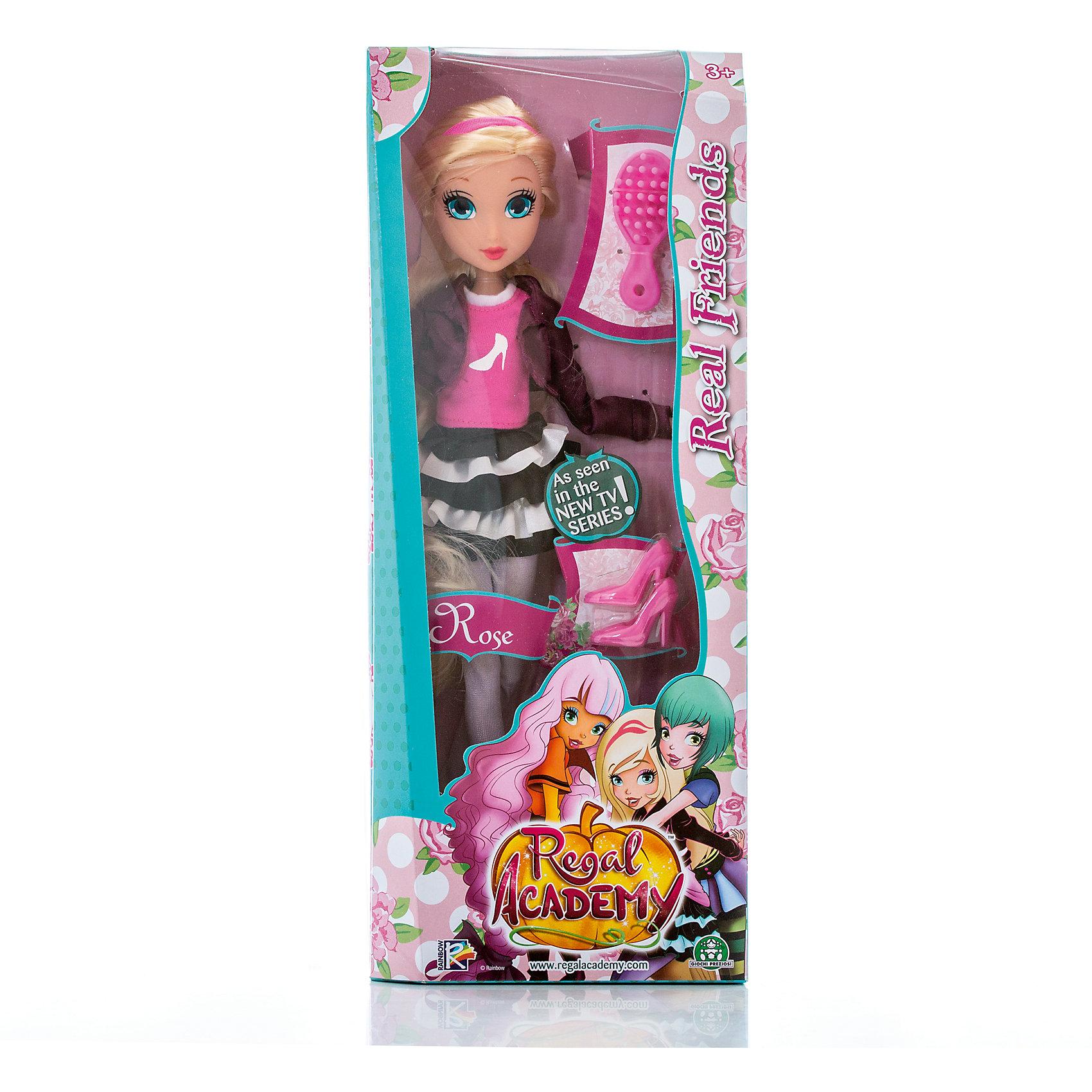Кукла Роуз, Королевская академия, 30 смКуклы<br>Кукла Роуз, Королевская академия, 30 см<br><br>Характеристики:<br><br>• дополнительные аксессуары в комплекте<br>• высота куклы: 30 см<br>• материал: пластик, текстиль<br>• размер упаковки: 35х14х6 см<br>• вес: 347 грамм<br><br>Роуз - внучка Золушки. Она с удовольствием посещает Королевскую академии и просто обожает обувь. Специально для юной модницы в комплект входят очаровательные розовые туфельки. А для шикарных светлых волос девочки предусмотрена расческа. Роуз одета в стильную юбочку, гетры, топ и жакет. Голову куклы украшает розовая повязка. Ноги и руки куклы сгибаются, что позволяет принять нужную позу для игры. Стильный наряд, большие голубые глаза и густые длинные волосы - эта кукла станет настоящим подарком для юных принцесс!<br><br>Куклу Роуз, Королевская академия, 30 см вы можете купить в нашем интернет-магазине.<br><br>Ширина мм: 60<br>Глубина мм: 140<br>Высота мм: 350<br>Вес г: 347<br>Возраст от месяцев: 36<br>Возраст до месяцев: 2147483647<br>Пол: Женский<br>Возраст: Детский<br>SKU: 5397306