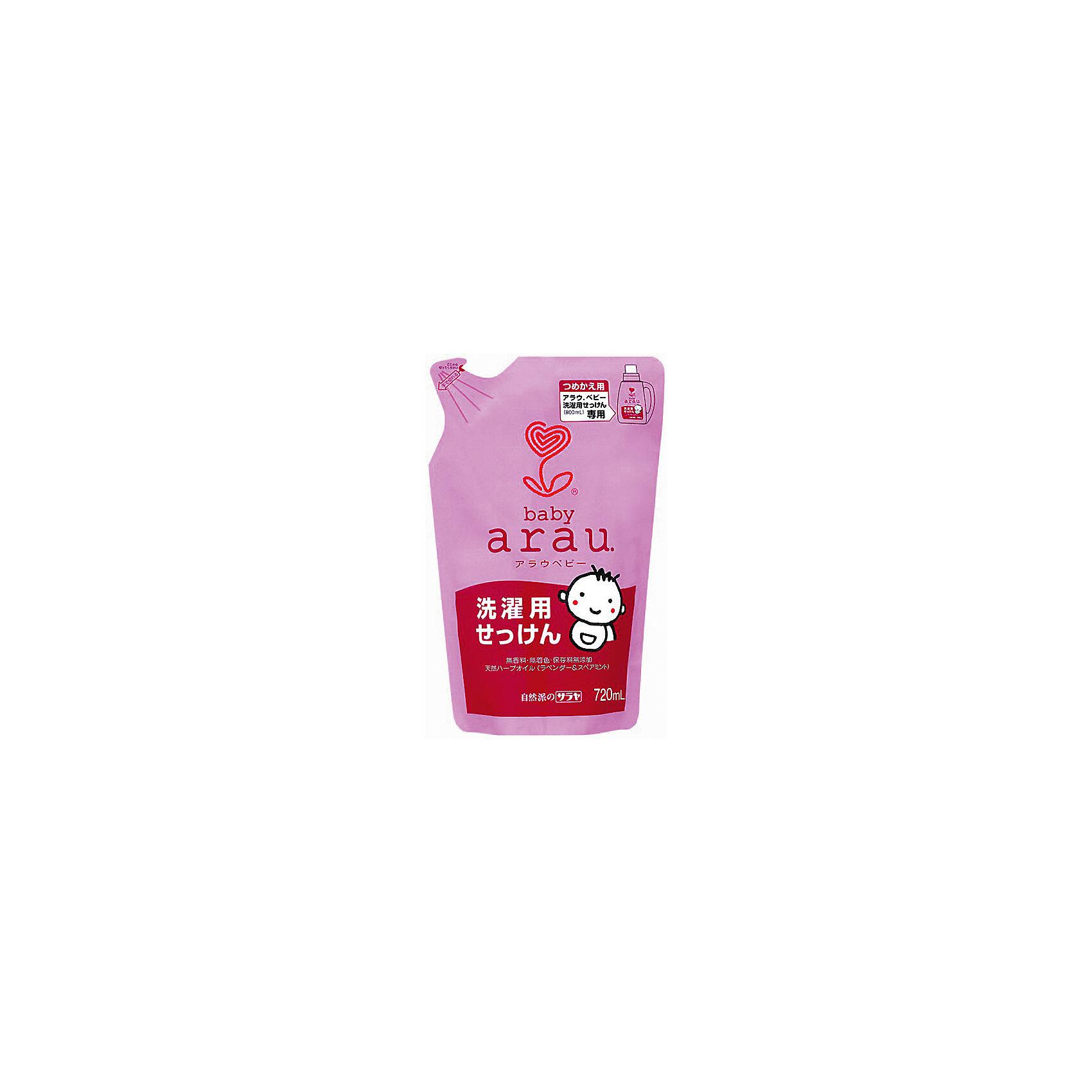 Жидкость для стирки детской одежды Arau Baby, 720 мл. (картридж), sarayaЖидкость для стирки детской одежды Arau Baby, 720 мл. (картридж), Saraya<br><br>Характеристики:<br><br>- объем: 720 мл.<br>- состав: калиевое мыло на основе кокосового масла, вода, эфирные масла лаванды и мяты.<br>- Страна производитель: Япония<br><br>Стирка не может быть проще, чем со средством для стики Arau Baby  (Арау Бейби)! Просто налейте его прямо в стиральную машину и мыло быстро растворится в воде, чтобы отстирать любые загрязнения. <br><br>Средство отлично ополаскивается и оставляет полотенца и детское белье пушистыми и мягкими даже без использования кондиционера. Удобная упаковка этого наполнителя с завинчивающейся крышечкой позволит наполнить бутылочку один раз. Все средства линии Аrau (Арау) оказывают бережное отношение к окружающей среде и разлагается не загрязняя её. Природные компоненты состава этого средства не провоцируют аллергию, формула мыла проверена дерматологами и не провоцирует раздражение. <br><br>В состав входят натуральные масла, придающее белью легкий и ненавязчивый запах, прочие ненатуральные ароматизаторы в формулу не входят. Идеально как для ручной, так и для автоматической стирки, отлично подходит для белого и цветного белья. В составе формулы нет красителей. Вы полюбите чистые вещи вместе с Аrau Baby (Арау Бейби)!<br><br>Жидкость для стирки детской одежды Arau Baby, 720 мл. (картридж), Saraya можно купить в нашем интернет-магазине.<br><br>Ширина мм: 315<br>Глубина мм: 260<br>Высота мм: 280<br>Вес г: 500<br>Возраст от месяцев: 216<br>Возраст до месяцев: 1188<br>Пол: Унисекс<br>Возраст: Детский<br>SKU: 5397356