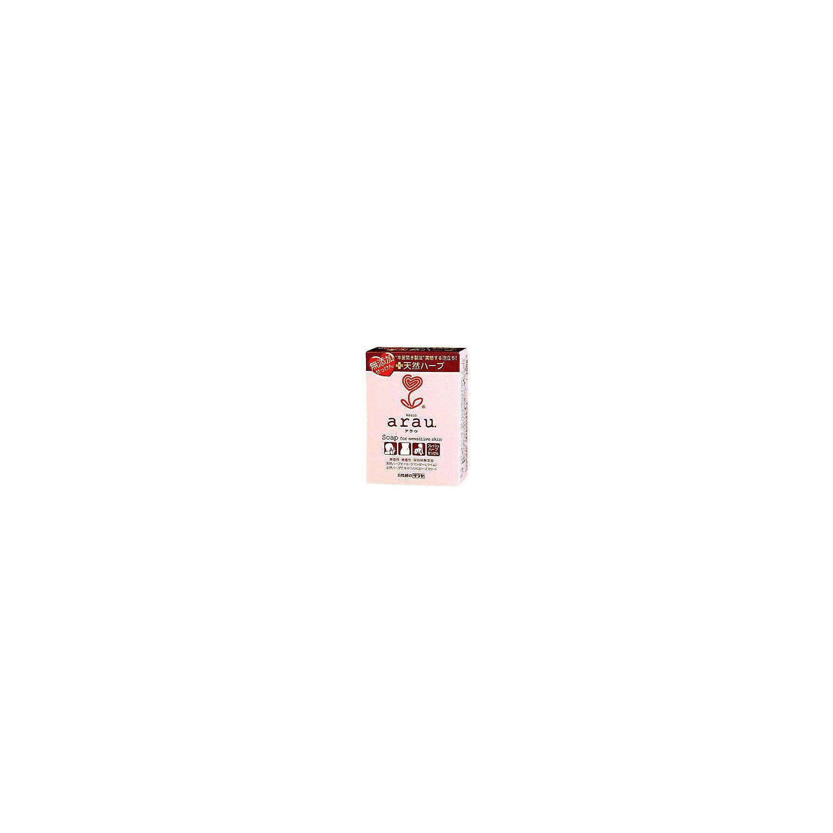 Мыло Arau для чувствительной кожи на основе трав, 100 гр., sarayaБытовая химия<br>Мыло Arau для чувствительной кожи на основе трав, 100 гр., Saraya<br><br>Характеристики:<br><br>- вес: 100 гр.<br>- состав: натуральная мыльная основа, вода, масло Ши, сквалан, эфирное масло лаванды, экстракт розмарина и листьев периллы, глицерин, бутиленгликоль, токоферол (витамин Е), хлорид натрия.<br>- Страна производитель: Япония<br><br>Выполненное в традиционном стиле мыло включает в себя простые, необработанные травы и ингридиенты. Обильная мыльная пена идеально подходит для ежедневного очищения лица, рук и всего тела. И, конечно, мыло достаточно безопасно и бережно для мытья ребёнка, в том числе! Мыло для чувствительной кожи из линии по уходу за телом от японского бренда Аrau (Арау) поможет добиться самого чистого, и в то же время бережного очищения. <br><br>Все средства линии Аrau (Арау) оказывают бережное отношение к окружающей среде и разлагается не загрязняя её. Это пенное мыло годится для ежедневного очищения. Природные компоненты состава этого мыла не провоцируют аллергию, формула мыла проверена дерматологами и не провоцирует раздражение. <br><br>В состав входят натуральное масло лаванды, придающее мылу легкий и ненавязчивый запах, прочие ненатуральные ароматизаторы в формулу мыла не входят. Эффекты экстрактов и масел обеспечивают комплексное очищение кожи и легкое осветление. В состав мыла не входят красители. Благодаря экстрактам из состава мыло обладает противовоспалительным и антибактериальным эффектом. Вы полюбите мыться вместе с Аrau (Арау)!<br><br>Мыло Arau для чувствительной кожи на основе трав, 100 гр., Saraya можно купить в нашем интернет-магазине.<br><br>Ширина мм: 100<br>Глубина мм: 50<br>Высота мм: 50<br>Вес г: 100<br>Возраст от месяцев: 216<br>Возраст до месяцев: 1188<br>Пол: Унисекс<br>Возраст: Детский<br>SKU: 5397369