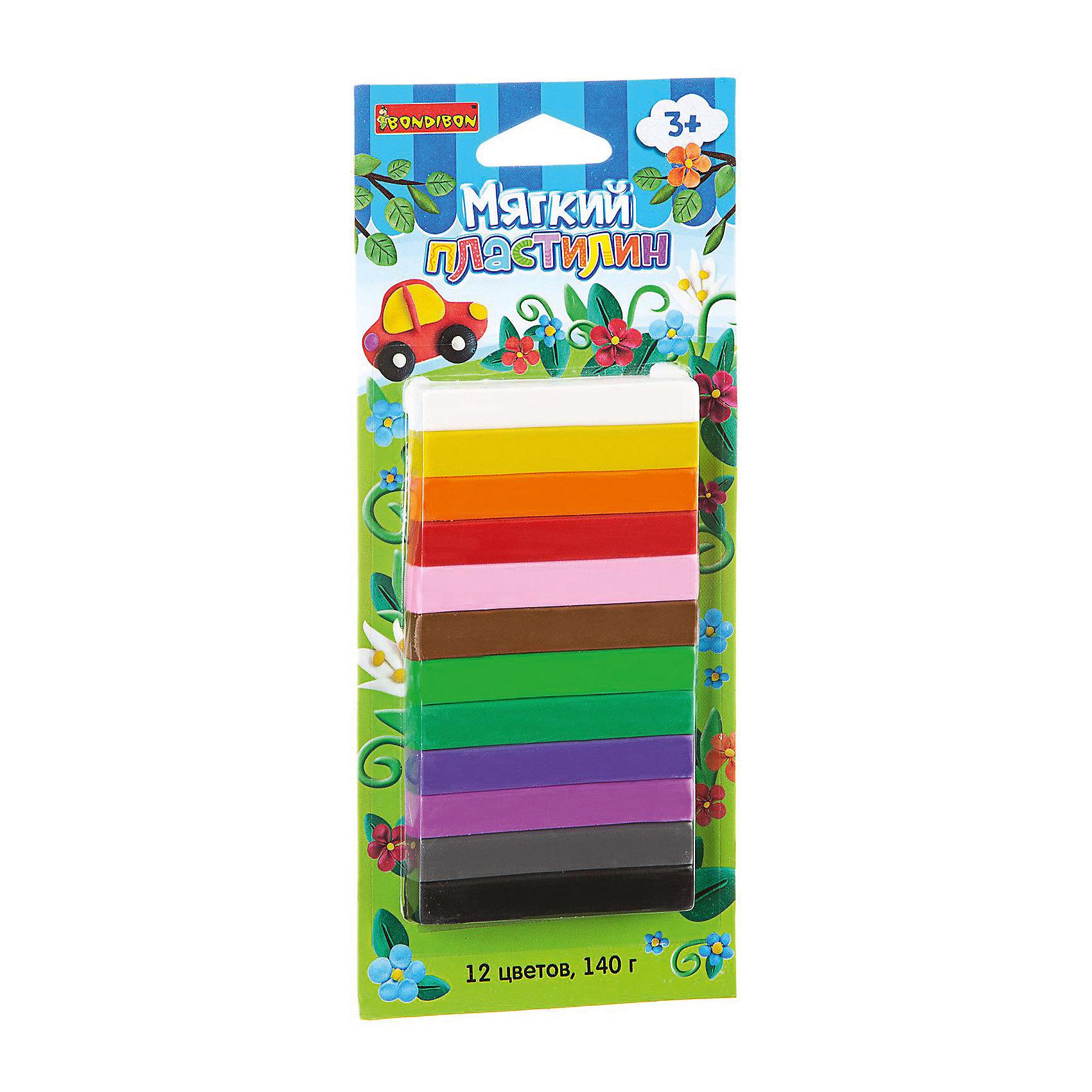 Мягкий пластилин 12 цветов, 140 г, BondibonЛепка<br>Мягкий пластилин ТМ BONDIBON разработан специально для маленьких детей. Не требует предварительного разминания. С помощью мягкого пластилина можно не только лепить, но и создавать объемные рисунки на бумаге или другой плоской поверхности. Поможет весело и пользой провести время, и развить мелкую моторику, фантазию, воображение и творческий потенциал Вашего малыша.<br><br>Ширина мм: 220<br>Глубина мм: 95<br>Высота мм: 10<br>Вес г: 163<br>Возраст от месяцев: 36<br>Возраст до месяцев: 72<br>Пол: Унисекс<br>Возраст: Детский<br>SKU: 5398953