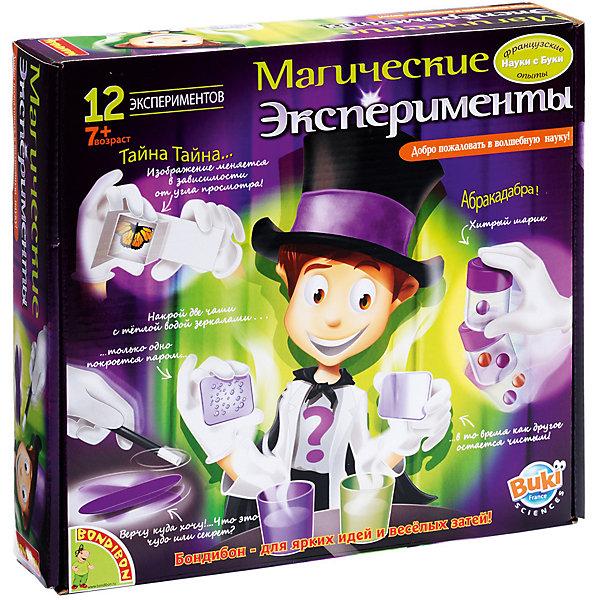 Магические эксперименты (12 экспериментов), Французские опыты Науки с Буки, BondibonФокусы и розыгрыши<br>Больше всего на свете дети любят фокусы. Но одно дело просто смотреть на них, и совсем другое – самому стать волшебником! Научно-развлекательный набор «Магические эксперименты» для детей старше 7 лет поможет любому малышу почувствовать себя настоящим Копперфильдом! Ребенку предстоит опытным путем установить, что любое чудо имеет логическое объяснение. В красочно иллюстрированной инструкции подробно объясняется, как провести 12 увлекательнейших экспериментов. Абракадабра-бум и еще парочка магических заклинаний, и Ваш маленький волшебник сможет притягивать предметы, прятать их или придавать им необычную форму. Магические эксперименты помогут вашему ребенку не только весело провести время с друзьями, но и разобраться в том, что такое чудо и как сотворить его своими руками. В состав набора входят контейнер с крышкой, два цветных шарика, коробка под домино, 6 костяшек домино, волшебная палочка, вертушка, маленькие карты с картинками, кристальный кубик, прозрачный стакан, бумажная салфетка, картонный цилиндр, магический плакат, шарики, карты с картинками, цветные стаканы, монетка, кообочка с прозрачным стеклышком, красочная инструкция.<br>Ширина мм: 270; Глубина мм: 60; Высота мм: 245; Вес г: 707; Возраст от месяцев: 84; Возраст до месяцев: 192; Пол: Унисекс; Возраст: Детский; SKU: 5398975;