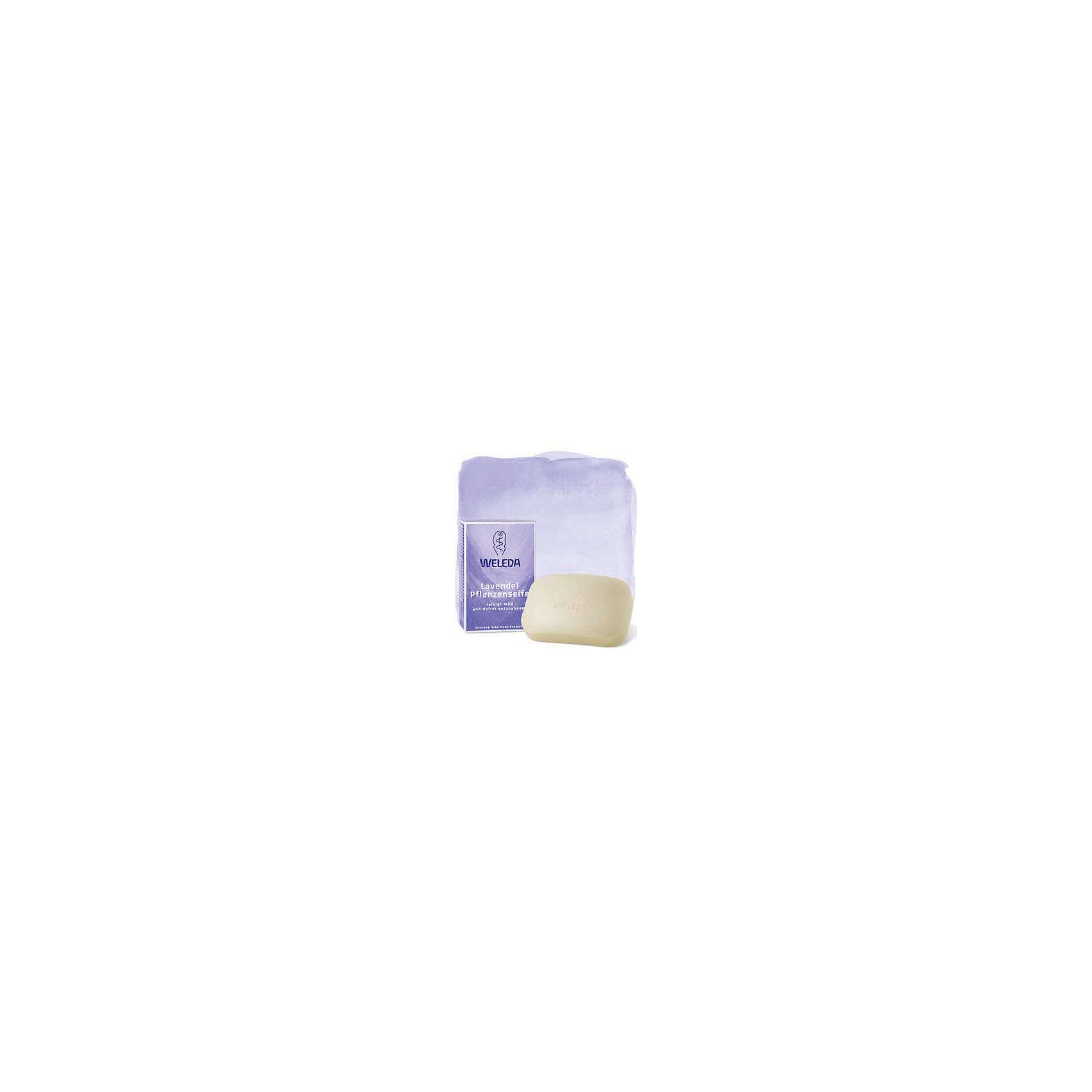 Мыло лавандовое растительное, 100гр., WeledaХарактеристики:<br><br>• Тип средства: мыло <br>• Предназначение: для ухода за кожей, для вечернего умывания<br>• Пол: универсальный<br>• Объем: 100 гр<br>• Подходит для чувствительной кожи<br>• Форма выпуска: твердое<br>• Состав: вода, глицерин, экстракт лаванды, ириса, ромашки, фиалки трехцветной, вытяжки из натуральных масел и др.<br>• Упаковка: картонная коробка<br>• Размер упаковка: 3*2,5*2 см<br>• Вес в упаковке: 180 г<br>• Средство имеет сертификаты Natrue, Vegan<br>• Особенности хранения: хранить в прохладном темном месте <br><br>Мыло лавандовое растительное, 100 гр., Weleda разработано немецким производителем косметических и гигиенических средств натурального происхождения. Средство состоит из натуральных компонентов, которые выращены под контролем качества компании-производителя. Микроэлементы получены по инновационной технологии, которая обеспечивает сохранение полезных свойств натуральных эфирных масел. <br><br>Мыло предназначено для бережного очищения кожи лица и рук. При намыливании образуется нежная и мягкая пена. При применении мыла лавандового растительного, 100 гр., Weleda не появляется чувство стянутости и сухости кожи.<br><br>Мыло лавандовое растительное, 100 гр., Weleda можно купить в нашем интернет-магазине.<br><br>Ширина мм: 30<br>Глубина мм: 25<br>Высота мм: 20<br>Вес г: 100<br>Возраст от месяцев: 216<br>Возраст до месяцев: 1188<br>Пол: Унисекс<br>Возраст: Детский<br>SKU: 5399000