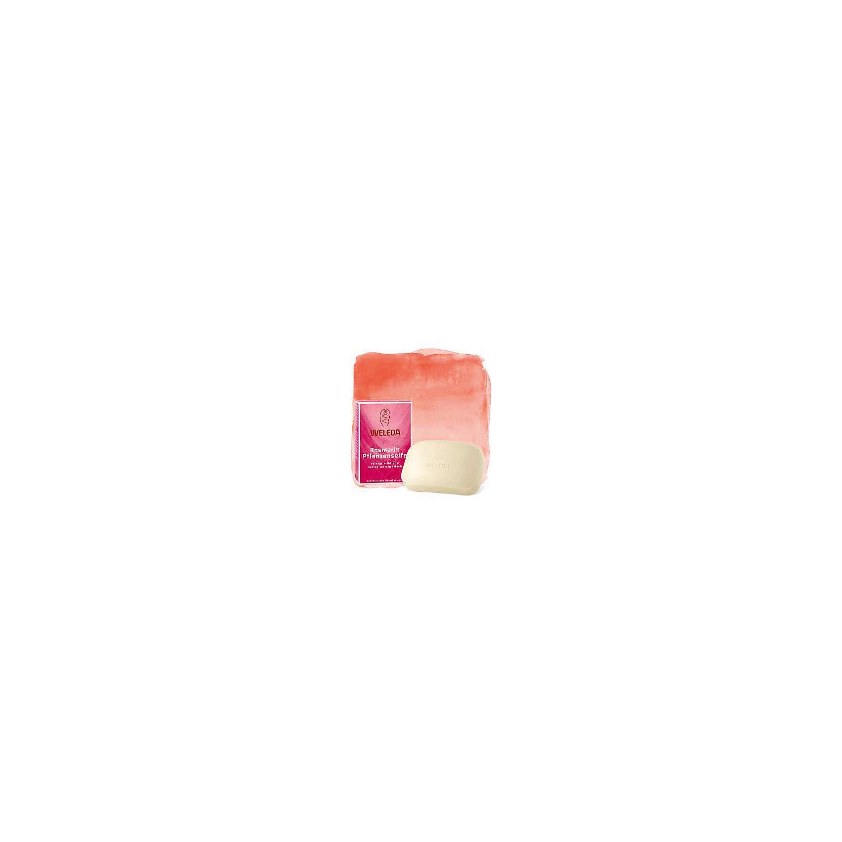 Мыло розмариновое, 100гр., WeledaХарактеристики:<br><br>• Тип средства: мыло <br>• Предназначение: для ухода за кожей, для утреннего умывания<br>• Пол: универсальный<br>• Объем: 100 гр<br>• Подходит для чувствительной кожи<br>• Форма выпуска: твердое<br>• Состав: вода, глицерин, экстракт розмарина, ромашки, фиалки трехцветной, вытяжки из натуральных масел и др.<br>• Упаковка: картонная коробка<br>• Размер упаковка: 3*2,5*2 см<br>• Вес в упаковке: 180 г<br>• Средство имеет сертификаты Natrue, Vegan<br>• Особенности хранения: хранить в прохладном темном месте <br><br>Мыло розмариновое растительное, 100 гр., Weleda разработано немецким производителем косметических и гигиенических средств натурального происхождения. Средство состоит из натуральных компонентов, которые выращены под контролем качества компании-производителя. Микроэлементы получены по инновационной технологии, которая обеспечивает сохранение полезных свойств натуральных эфирных масел. <br><br>Мыло предназначено для бережного очищения кожи лица и рук. При намыливании образуется нежная и мягкая пена. При применении мыла розмаринового растительного, 100 гр., Weleda не появляется чувство стянутости и сухости кожи.<br><br>Мыло розмариновое растительное, 100 гр., Weleda можно купить в нашем интернет-магазине.<br><br>Ширина мм: 30<br>Глубина мм: 25<br>Высота мм: 20<br>Вес г: 100<br>Возраст от месяцев: 216<br>Возраст до месяцев: 1188<br>Пол: Унисекс<br>Возраст: Детский<br>SKU: 5399001