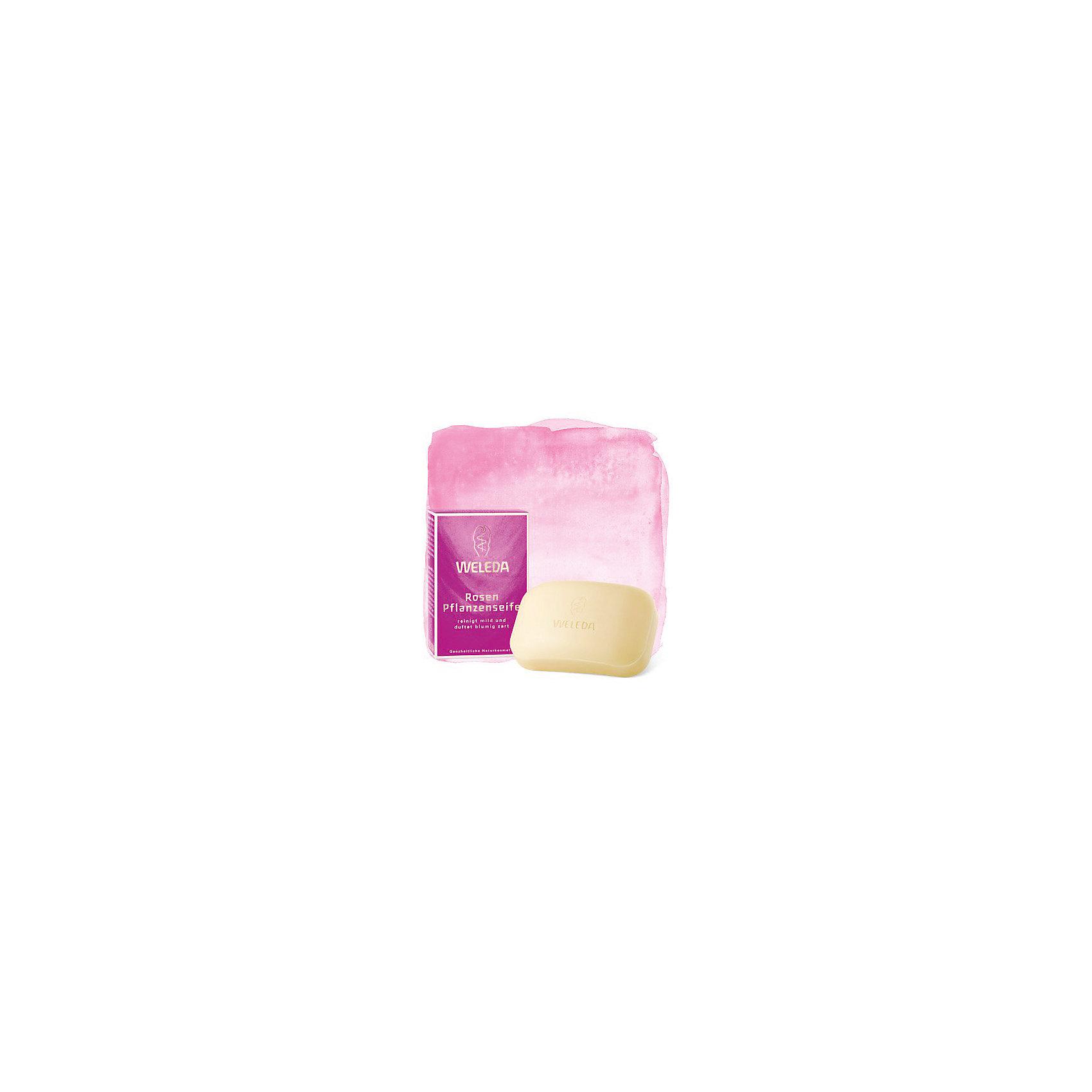 Мыло розовое растительное, 100гр., WeledaСредства для ухода<br>Характеристики:<br><br>• Тип средства: мыло <br>• Предназначение: для ухода за кожей, для утреннего умывания<br>• Пол: универсальный<br>• Объем: 100 гр<br>• Подходит для чувствительной кожи<br>• Форма выпуска: твердое<br>• Состав: вода, глицерин, экстракт дамасской розы, ромашки, фиалки трехцветной, вытяжки из натуральных масел и др.<br>• Упаковка: картонная коробка<br>• Размер упаковка: 3*2,5*2 см<br>• Вес в упаковке: 270 г<br>• Средство имеет сертификаты Natrue, Vegan<br>• Особенности хранения: хранить в прохладном темном месте <br><br>Мыло розовое растительное, 100 гр., Weleda разработано немецким производителем косметических и гигиенических средств натурального происхождения. Средство состоит из натуральных компонентов, которые выращены под контролем качества компании-производителя. Микроэлементы получены по инновационной технологии, которая обеспечивает сохранение полезных свойств натуральных эфирных масел. <br><br>Мыло предназначено для бережного очищения кожи лица и рук. При намыливании образуется нежная и мягкая пена. При применении мыла розмаринового растительного, 100 гр., Weleda не появляется чувство стянутости и сухости кожи.<br><br>Мыло розовое растительное, 100 гр., Weleda можно купить в нашем интернет-магазине.<br><br>Ширина мм: 30<br>Глубина мм: 25<br>Высота мм: 20<br>Вес г: 100<br>Возраст от месяцев: 216<br>Возраст до месяцев: 1188<br>Пол: Унисекс<br>Возраст: Детский<br>SKU: 5399002