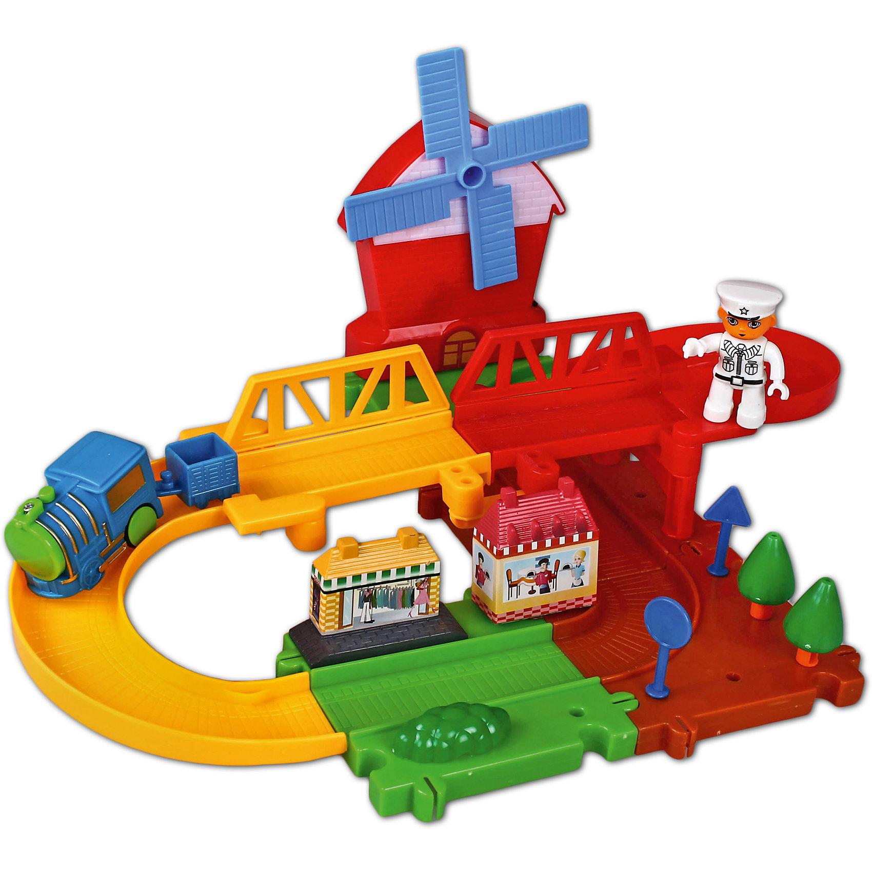 Железная дорога Веселые горки, Голубая стрелаЖелезные дороги<br>Железная дорога Веселые горки, Голубая стрела.<br><br>Характеристики:<br><br>• Комплектация: 6 элементов пути, 7 элементов моста, паровозик, вагонетка, мельница, фигурка регулировщика, 2 железнодорожных знака, 2 строения, 2 дерева, кустарник<br>• Размер паровозика: 5,5х2,5х3,5 см.<br>• Ширина колеи: 7,5 см.<br>• Батарейки: 1 типа ААА 1,5V для поезда, 2 батарейки типа АА 1,5V для мельницы (в комплект не входят)<br>• Материал: пластик<br>• Упаковка: картонная коробка<br>• Размер упаковки: 34х6х25 см.<br><br>Красочная железная дорога «Веселые горки» от производителя Голубая стрела очень понравится малышам! Крупные и яркие элементы пути легко соединяются между собой, как пазл. Ребенок без труда соберет 2-х уровневую дорогу, рядом с которой разместятся мельница, станционные домики, железнодорожные знаки, деревья, кустарник и регулировщик. <br><br>Переведите переключатель на паровозике в нужное положение. Паровозик и вагонетка весело побегут по рельсам, гудя и издавая задорное «чух-чух». Движение игрушки сопровождается не только звуковыми, но и световыми эффектами. Играя с железной дорогой, ребенок разовьет логическое мышление, мелкую моторику рук и воображение.<br><br>Железную дорогу Веселые горки, Голубая стрела можно купить в нашем интернет-магазине.<br><br>Ширина мм: 340<br>Глубина мм: 250<br>Высота мм: 56<br>Вес г: 597<br>Возраст от месяцев: 36<br>Возраст до месяцев: 2147483647<br>Пол: Мужской<br>Возраст: Детский<br>SKU: 5400243