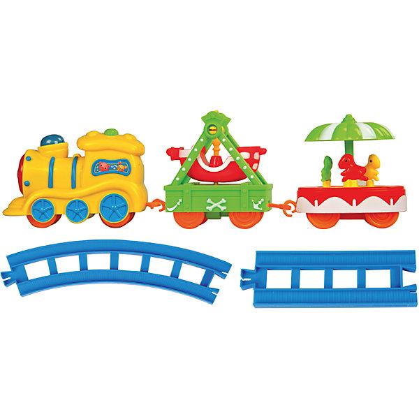 Железная дорога Карусель, Голубая стрелаЖелезные дороги<br>Железная дорога Карусель, Голубая стрела.<br><br>Характеристики:<br><br>• Комплектация: паровоз, два ярких вагончиков с каруселями, элементы пути (4 прямых, 8 изогнутых дугой)<br>• Рельсы: длина прямого элемента - 10,5 см, длина изогнутого – 16,5 см.<br>• Размер паровозика: 12х4,7х7 см.<br>• Ширина колеи: 15 мм.<br>• Батарейки: 2 типа АА (не входят в комплект)<br>• Материал: пластик<br>• Упаковка: картонная коробка блистерного типа<br>• Размер упаковки: 30,5х20,5х7 см.<br><br>Железная дорога Карусель от производителя Голубая стрела понравится самым маленьким! Ведь все элементы игрушки такие яркие. Поезд словно из мультика приехал. И готов развлекать малышей! Весь набор состоит из элементов пути, чудесного паровоза, двух ярких вагончиков с каруселями. На одной карусели по кругу движутся три милые лошадки. Вторая карусель представляет собой качели в форме корабля. <br><br>Элементы дороги можно собирать в двух вариантах: кругом или овалом. Рельсы соединяются между собой очень просто, как пазл. Вагончики и паровоз – с помощью петелек. Движение состава по рельсам сопровождается звуковыми и световыми эффектами. Благодаря им игра будет безумно интересной. Движение паровоза происходит в зависимости от положения переключателя вкл./выкл. Играя с железной дорогой, ребенок разовьет пространственное мышление, мелкую моторику рук и воображение.<br><br>Железную дорогу Карусель, Голубая стрела можно купить в нашем интернет-магазине.<br><br>Ширина мм: 300<br>Глубина мм: 200<br>Высота мм: 70<br>Вес г: 458<br>Возраст от месяцев: 36<br>Возраст до месяцев: 2147483647<br>Пол: Мужской<br>Возраст: Детский<br>SKU: 5400245