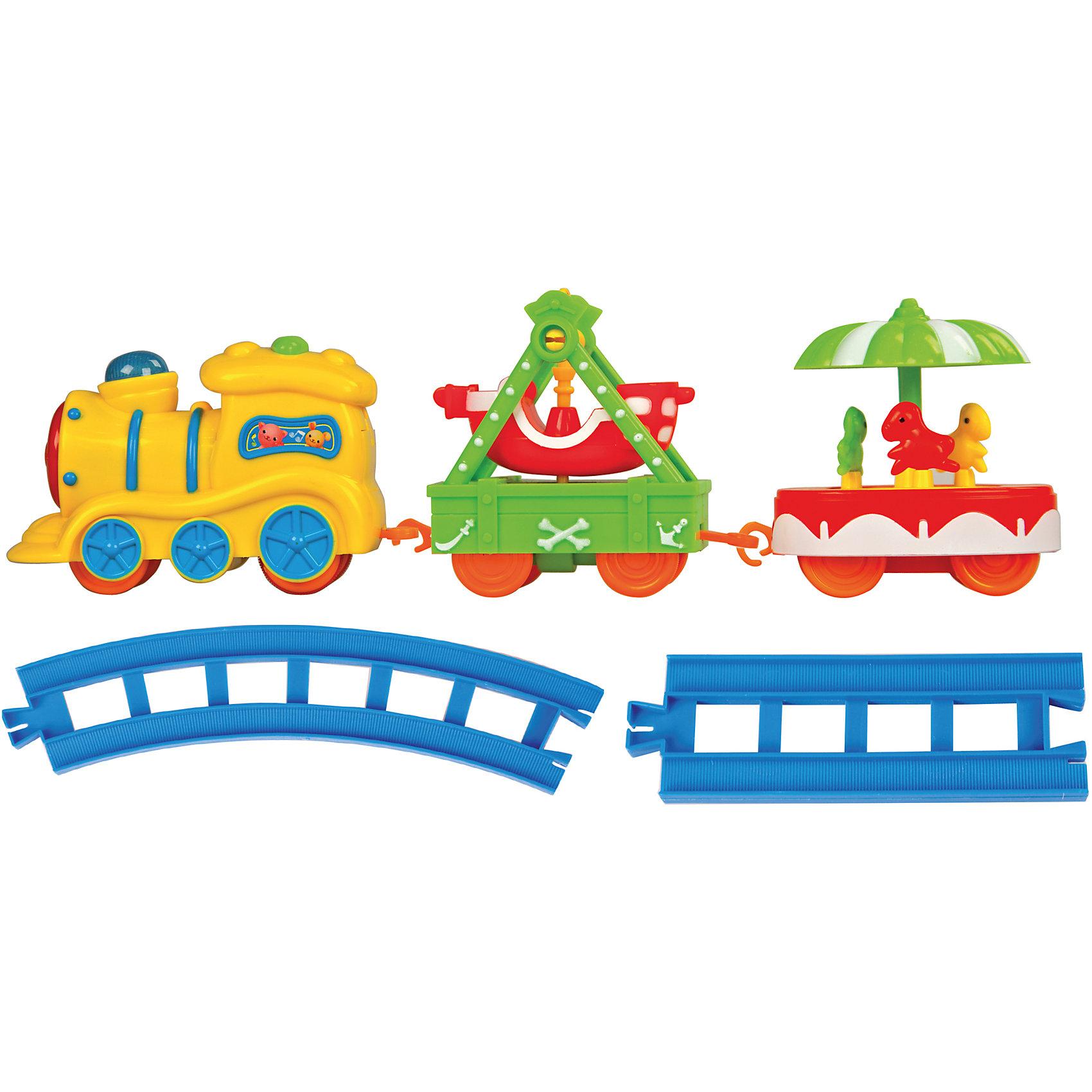 Железная дорога Карусель, Голубая стрелаЖелезная дорога Карусель, Голубая стрела.<br><br>Характеристики:<br><br>• Комплектация: паровоз, два ярких вагончиков с каруселями, элементы пути (4 прямых, 8 изогнутых дугой)<br>• Рельсы: длина прямого элемента - 10,5 см, длина изогнутого – 16,5 см.<br>• Размер паровозика: 12х4,7х7 см.<br>• Ширина колеи: 15 мм.<br>• Батарейки: 2 типа АА (не входят в комплект)<br>• Материал: пластик<br>• Упаковка: картонная коробка блистерного типа<br>• Размер упаковки: 30,5х20,5х7 см.<br><br>Железная дорога Карусель от производителя Голубая стрела понравится самым маленьким! Ведь все элементы игрушки такие яркие. Поезд словно из мультика приехал. И готов развлекать малышей! Весь набор состоит из элементов пути, чудесного паровоза, двух ярких вагончиков с каруселями. На одной карусели по кругу движутся три милые лошадки. Вторая карусель представляет собой качели в форме корабля. <br><br>Элементы дороги можно собирать в двух вариантах: кругом или овалом. Рельсы соединяются между собой очень просто, как пазл. Вагончики и паровоз – с помощью петелек. Движение состава по рельсам сопровождается звуковыми и световыми эффектами. Благодаря им игра будет безумно интересной. Движение паровоза происходит в зависимости от положения переключателя вкл./выкл. Играя с железной дорогой, ребенок разовьет пространственное мышление, мелкую моторику рук и воображение.<br><br>Железную дорогу Карусель, Голубая стрела можно купить в нашем интернет-магазине.<br><br>Ширина мм: 300<br>Глубина мм: 200<br>Высота мм: 70<br>Вес г: 458<br>Возраст от месяцев: 36<br>Возраст до месяцев: 2147483647<br>Пол: Мужской<br>Возраст: Детский<br>SKU: 5400245