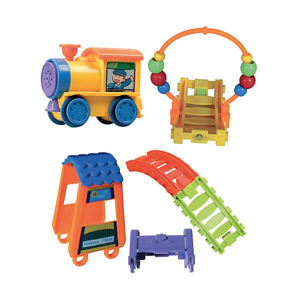 Железная дорога Колесо, Голубая стрелаЖелезные дороги<br>Железная дорога Колесо, Голубая стрела.<br><br>Характеристики:<br><br>• Комплектация: паровозик, станция, круг с бусинками, отбойники 2 шт, рельсы<br>• Ширина колеи: 36 мм.<br>• Батарейки: 2 типа АА (не входят в комплект)<br>• Материал: пластик<br>• Упаковка: картонная коробка блистерного типа<br>• Размер упаковки: 34х7х25 см.<br><br>Железная дорога Колесо от производителя Голубая стрела очень необычная! У нее привлекательный дизайн и много потрясающих функций. Паровозик может ездить по любой прямой горизонтальной поверхности, а также подниматься на горку и спускаться с нее. Дорога собирается в виде «волны» или колесом. <br><br>Паровозик может ездить внутри колеса из рельсов, заставляя его вращаться. У поезда есть спереди и сзади датчики, которые заставляют его изменять направление при контакте с отбойником. Звуковые и световые эффекты делают игру интересной и увлекательной. Играя с железной дорогой, ребенок разовьет пространственное мышление, мелкую моторику рук и воображение.<br><br>Железную дорогу Колесо, Голубая стрела можно купить в нашем интернет-магазине.<br><br>Ширина мм: 340<br>Глубина мм: 250<br>Высота мм: 70<br>Вес г: 704<br>Возраст от месяцев: 36<br>Возраст до месяцев: 2147483647<br>Пол: Мужской<br>Возраст: Детский<br>SKU: 5400246