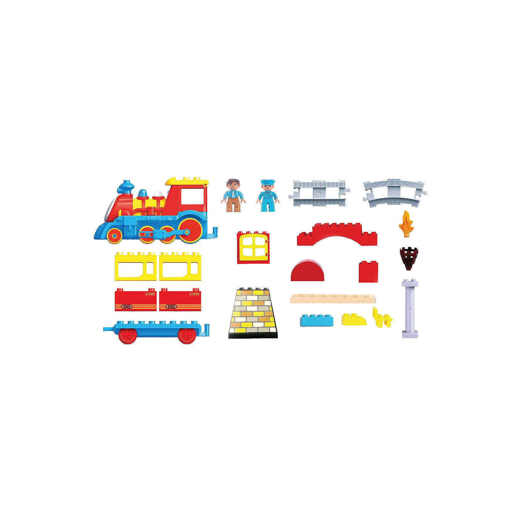 Железная дорога Веселый паровозик, Голубая стрелаИгрушечная железная дорога<br>Железная дорога Веселый паровозик, Голубая стрела.<br><br>Характеристики:<br><br>• Комплектация: паровозик, детали вагончика, фигурка пассажира, прямые и изогнутые элементы пути 22 шт, элементы для сборки станции и ворот 21 шт, пульт управления<br>• Батарейки: для паровозика – 3 типа АА 1,5 V , для пульта управления – 2 типа ААА 1,5 V (в комплект не входят)<br>• Размер в собранном виде: 112х58 см.<br>• Материал: пластик<br>• Упаковка: картонная коробка<br>• Размер упаковки: 49х38х8 см.<br><br>Радиоуправляемая железная дорога «Веселый паровозик» понравится как мальчикам, так и девочкам. Яркие и подвижные элементы, звуковые и световые эффекты приведут в восторг малышей. У веселого паровозика открывается кабинка машиниста, вращаются глазки, светится носик, а труба опускается и поднимается. Управлять составом можно с пульта, заставляя паровозик двигаться как вперед, так и назад. <br><br>Все элементы железной дороги собираются как конструктор. Такая игрушка развивает фантазию ребенка, кругозор, усидчивость, логическое мышление, сенсорное восприятие и моторику рук. Радиоуправляемая железная дорога «Веселый паровозик» была отмечена дипломом 1-ой степени «За высокие потребительские свойства» и золотой медалью «За качество» на выставке «Мир Детства 2013».<br><br>Железную дорогу Веселый паровозик, Голубая стрела можно купить в нашем интернет-магазине.<br><br>Ширина мм: 490<br>Глубина мм: 380<br>Высота мм: 80<br>Вес г: 1800<br>Возраст от месяцев: 36<br>Возраст до месяцев: 2147483647<br>Пол: Мужской<br>Возраст: Детский<br>SKU: 5400255