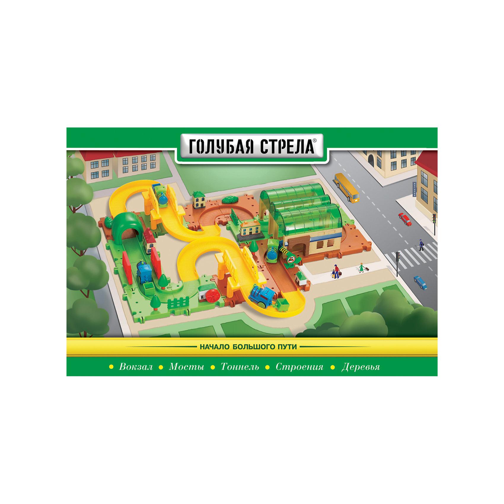 Железная дорога Станция пассажирская, Голубая стрелаИгрушечная железная дорога<br>Железная дорога Станция пассажирская, Голубая стрела.<br><br>Характеристики:<br><br>• Комплектация: элементы железнодорожного полотна, паровозик с вагончиком, вокзал, мосты, тоннель, строения, деревья, шлагбаум<br>• Ширина колеи: 2,5 см.<br>• Размер паровозика: 5х3,5-4 см.<br>• Батарейка: 1 типа ААА (в комплект не входит)<br>• Материал: пластик<br>• Упаковка: картонная коробка<br>• Размер упаковки: 31х45х7 см.<br>• Данный товар был отмечен «знаком качества» на выставке «Лучшее-детям 2012»<br><br>«Станция пассажирская» - это великолепная игрушка для детей от 3 лет. Она представляет собой конструктор с железнодорожным полотном, вокзалом, домиками, заводами, деревьями, паровозиком с вагончиком и не только. Этот набор очень прост в сборке. Одни элементы дороги (блоки) соединяются между собой как пазл, то есть с нескольких сторон, другие (дугой) - с помощью обычных креплений. Причем никаких стыков после сборки не остается, паровозик не «спотыкается» по дороге во время движения. Собирать железную дорогу можно по-разному. Можно использовать только блочные элементы или все вместе. Все элементы набора вращаются, вертятся (поднимается шлагбаум, деревья крутятся и т.д.). <br><br>Движение паровозика с вагончиком происходит в зависимости от положения переключателя вкл./выкл. на паровозе. Элементы набора выполнены из прочного, крепкого, качественного пластика, который со временем не деформируется. Набор упакован в коробку с ручкой, в которой его удобно хранить и переносить. Железная дорога «Станция пассажирская» не оставит равнодушными ни детей, ни взрослых.<br><br>Железную дорогу Станция пассажирская, Голубая стрела можно купить в нашем интернет-магазине.<br><br>Ширина мм: 440<br>Глубина мм: 290<br>Высота мм: 60<br>Вес г: 1178<br>Возраст от месяцев: 36<br>Возраст до месяцев: 2147483647<br>Пол: Мужской<br>Возраст: Детский<br>SKU: 5400257