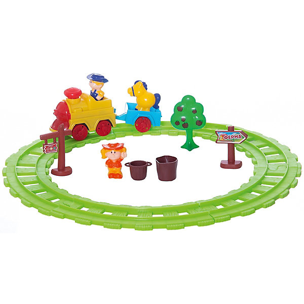 Железная дорога Веселый фермер, Голубая стрелаЖелезные дороги<br>Железная дорога Веселый фермер, Голубая стрела.<br><br>Характеристики:<br><br>• Игрушка предназначена для детей от 3-х лет<br>• Комплектация: паровоза, тележка, фигурки мальчика и девочки, лошадь, деревце, указатели, пенек, ведерко, рельсы<br>• Ширина колеи: 3,3 см.<br>• Длина пути: 140 см.<br>• Длина полного состава (поезда с тележкой): 21,5 см.<br>• Батарейки: 2 типа АА (в комплект не входит)<br>• Материал: пластик<br>• Упаковка: картонная коробка блистерного типа<br>• Размер упаковки:. 45,5х7,5х27,5 см.<br><br>Железная дорога Веселый фермер - это набор для малышей, состоящий из ярких крупных деталей. Яркий дизайн, световые и звуковые эффекты в сочетании с функциональностью порадуют вашего ребенка. Железная дорога собирается в форме круга. Все элементы легко соединятся между собой. <br><br>На паровозике есть кнопка при нажатии, на нее звучит мелодия и паровоз начинает ехать, фара при движении светися. Для увлекательной сюжетной игры в комплекте имеются дополнительные элементы – деревце, лошадка, указатели, фигурки мальчика и девочки, пенечек и ведерко. Играть с железной дорогой очень интересно и увлекательно. Играя, ребенок разовьет пространственное мышление, мелкую моторику рук и воображение.<br><br>Железную дорогу Веселый фермер, Голубая стрела можно купить в нашем интернет-магазине.<br>Ширина мм: 460; Глубина мм: 279; Высота мм: 77; Вес г: 795; Возраст от месяцев: 36; Возраст до месяцев: 2147483647; Пол: Мужской; Возраст: Детский; SKU: 5400259;