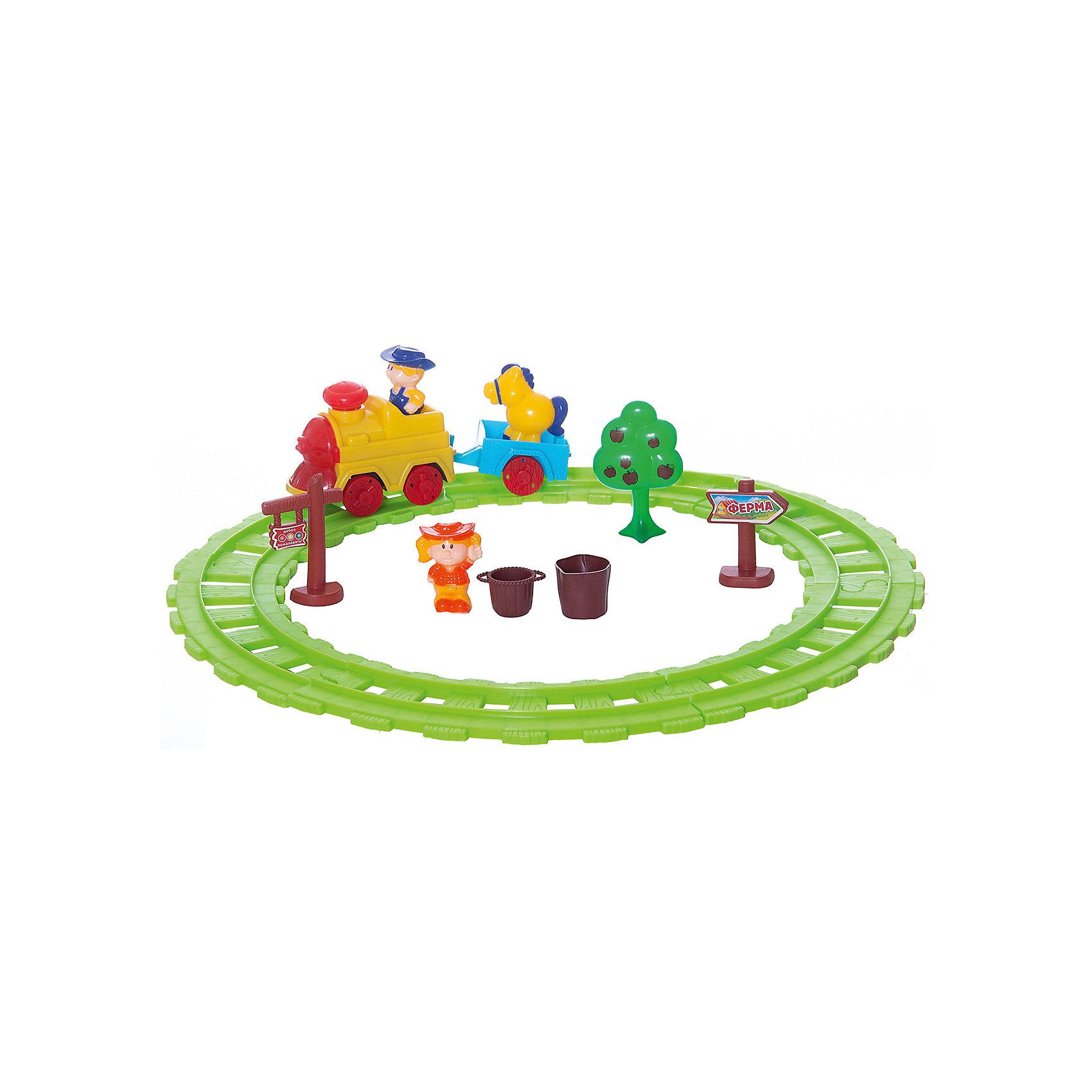 Железная дорога Веселый фермер, Голубая стрелаИгрушечная железная дорога<br>Железная дорога Веселый фермер, Голубая стрела.<br><br>Характеристики:<br><br>• Игрушка предназначена для детей от 3-х лет<br>• Комплектация: паровоза, тележка, фигурки мальчика и девочки, лошадь, деревце, указатели, пенек, ведерко, рельсы<br>• Ширина колеи: 3,3 см.<br>• Длина пути: 140 см.<br>• Длина полного состава (поезда с тележкой): 21,5 см.<br>• Батарейки: 2 типа АА (в комплект не входит)<br>• Материал: пластик<br>• Упаковка: картонная коробка блистерного типа<br>• Размер упаковки:. 45,5х7,5х27,5 см.<br><br>Железная дорога Веселый фермер - это набор для малышей, состоящий из ярких крупных деталей. Яркий дизайн, световые и звуковые эффекты в сочетании с функциональностью порадуют вашего ребенка. Железная дорога собирается в форме круга. Все элементы легко соединятся между собой. <br><br>На паровозике есть кнопка при нажатии, на нее звучит мелодия и паровоз начинает ехать, фара при движении светися. Для увлекательной сюжетной игры в комплекте имеются дополнительные элементы – деревце, лошадка, указатели, фигурки мальчика и девочки, пенечек и ведерко. Играть с железной дорогой очень интересно и увлекательно. Играя, ребенок разовьет пространственное мышление, мелкую моторику рук и воображение.<br><br>Железную дорогу Веселый фермер, Голубая стрела можно купить в нашем интернет-магазине.<br><br>Ширина мм: 460<br>Глубина мм: 279<br>Высота мм: 77<br>Вес г: 795<br>Возраст от месяцев: 36<br>Возраст до месяцев: 2147483647<br>Пол: Мужской<br>Возраст: Детский<br>SKU: 5400259