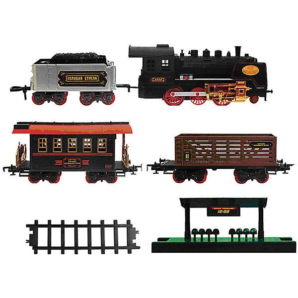 Железная дорога с тендером и вагончиками 650 см, Голубая стрелаЖелезные дороги<br>Железная дорога с тендером и вагончиками 650 см, Голубая стрела.<br><br>Характеристики:<br><br>• Комплектация: локомотив, тендер, пассажирский вагон, грузовой вагон, станция, стрелки, 22 элемента дороги<br>• Количество элементов: 27 шт.<br>• Масштаб 1:32<br>• Ширина колеи: 5,2 см.<br>• Общая протяженность: 650 см.<br>• Батарейки: 6 типа АА (не входят в комплект)<br>• Материал: пластик, металл<br>• Упаковка: картонная коробка блистерного типа<br>• Размер упаковки: 43,5x86,5x11 см.<br><br>Вы только посмотрите, какой прекрасный набор железной дороги! Выполненный в стиле ретро паровоз выглядит очень эффектно. Несмотря на то, что набор предназначен для детей от трех лет, его можно преподнести в качестве подарка и взрослым ценителям железных дорог. Комплект, состоящий из восхитительного локомотива, тендера и 2-х вагончиков (товарного и пассажирского), элементов дороги, станции, хорош не только внешним видом, но и функциональным содержанием. <br><br>Звуковые и световые эффекты, дым из трубы, все это создает впечатление реалистичности картины. Погрузиться в игру с этой железной дорогой можно на долгие часы. Впечатляет общая длина дороги – целых 650 см (колея 52 мм )! При том собирается игрушка достаточно быстро и легко. Поезд может двигаться вперед, назад, а также в разных направлениях, благодаря стрелкам-переключателям. Игрушка развивает воображение, фантазию, пространственное мышление, творческие способности.<br><br>Железную дорогу с тендером и вагончиками 650 см, Голубая стрела можно купить в нашем интернет-магазине.<br><br>Ширина мм: 850<br>Глубина мм: 420<br>Высота мм: 110<br>Вес г: 3513<br>Возраст от месяцев: 36<br>Возраст до месяцев: 2147483647<br>Пол: Мужской<br>Возраст: Детский<br>SKU: 5400262