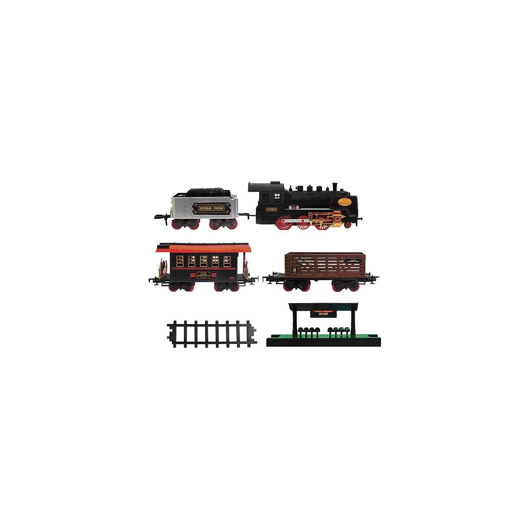 Железная дорога с тендером и вагончиками 650 см, Голубая стрелаИгрушечная железная дорога<br>Железная дорога с тендером и вагончиками 650 см, Голубая стрела.<br><br>Характеристики:<br><br>• Комплектация: локомотив, тендер, пассажирский вагон, грузовой вагон, станция, стрелки, 22 элемента дороги<br>• Количество элементов: 27 шт.<br>• Масштаб 1:32<br>• Ширина колеи: 5,2 см.<br>• Общая протяженность: 650 см.<br>• Батарейки: 6 типа АА (не входят в комплект)<br>• Материал: пластик, металл<br>• Упаковка: картонная коробка блистерного типа<br>• Размер упаковки: 43,5x86,5x11 см.<br><br>Вы только посмотрите, какой прекрасный набор железной дороги! Выполненный в стиле ретро паровоз выглядит очень эффектно. Несмотря на то, что набор предназначен для детей от трех лет, его можно преподнести в качестве подарка и взрослым ценителям железных дорог. Комплект, состоящий из восхитительного локомотива, тендера и 2-х вагончиков (товарного и пассажирского), элементов дороги, станции, хорош не только внешним видом, но и функциональным содержанием. <br><br>Звуковые и световые эффекты, дым из трубы, все это создает впечатление реалистичности картины. Погрузиться в игру с этой железной дорогой можно на долгие часы. Впечатляет общая длина дороги – целых 650 см (колея 52 мм )! При том собирается игрушка достаточно быстро и легко. Поезд может двигаться вперед, назад, а также в разных направлениях, благодаря стрелкам-переключателям. Игрушка развивает воображение, фантазию, пространственное мышление, творческие способности.<br><br>Железную дорогу с тендером и вагончиками 650 см, Голубая стрела можно купить в нашем интернет-магазине.<br><br>Ширина мм: 850<br>Глубина мм: 420<br>Высота мм: 110<br>Вес г: 3513<br>Возраст от месяцев: 36<br>Возраст до месяцев: 2147483647<br>Пол: Мужской<br>Возраст: Детский<br>SKU: 5400262