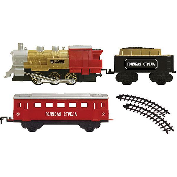 Железная дорога с двумя вагончиками 282 см, Голубая стрелаЖелезные дороги<br>Железная дорога с двумя вагончиками 282 см, Голубая стрела.<br><br>Характеристики:<br><br>• Комплектация: локомотив, тендер, вагон, элементы пути<br>• Ширина колеи: 3,2 см.<br>• Длина пути: 282 см.<br>• Масштаб 1:48<br>• Батарейки: 2хААА и 2х D (в комплект не входит)<br>• Материал: пластик<br>• Упаковка: картонная коробка<br>• Размер упаковки: 48х7х30 см.<br><br>Железная дорога с двумя вагончиками от производителя Голубая стрела не оставит равнодушными ни малышей, ни взрослых. Она состоит из локомотива, тендера, вагона и элементов пути. Звуковые, световые спецэффекты, а еще настоящий дым из трубы сделают игру интересной и увлекательной. <br><br>Движение состава происходит в зависимости от положения переключателя on/off на паровозе. Все детали набора сделаны аккуратно, рельсы плавно садятся на крепления и не рассыпаются во время игры. Железная дорога сделана из безопасного пластика без вредных токсинов и примесей.<br><br>Железную дорогу с двумя вагончиками 282 см, Голубая стрела можно купить в нашем интернет-магазине.<br><br>Ширина мм: 380<br>Глубина мм: 260<br>Высота мм: 75<br>Вес г: 779<br>Возраст от месяцев: 36<br>Возраст до месяцев: 2147483647<br>Пол: Мужской<br>Возраст: Детский<br>SKU: 5400263