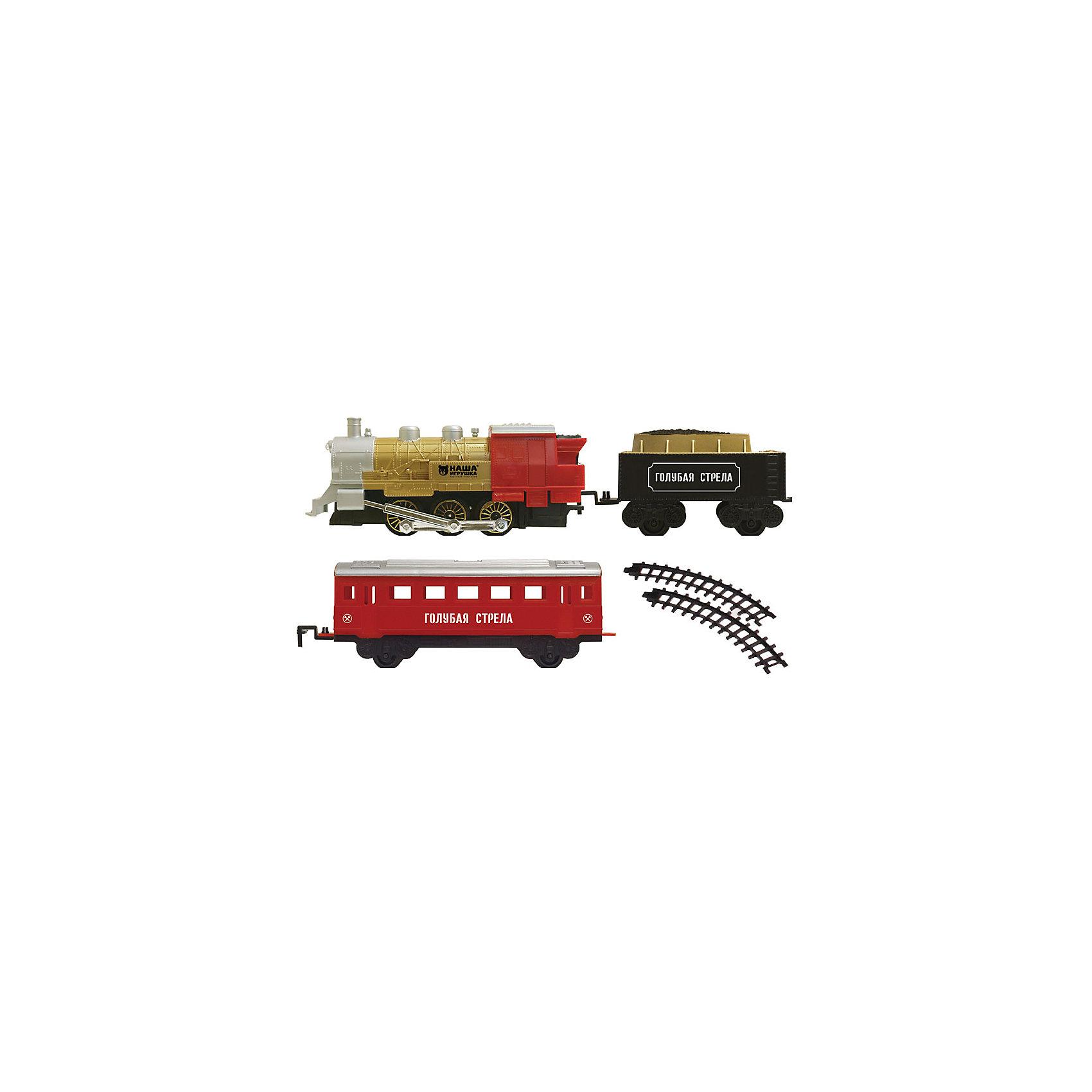 Железная дорога с двумя вагончиками 282 см, Голубая стрелаИгрушечная железная дорога<br>Железная дорога с двумя вагончиками 282 см, Голубая стрела.<br><br>Характеристики:<br><br>• Комплектация: локомотив, тендер, вагон, элементы пути<br>• Ширина колеи: 3,2 см.<br>• Длина пути: 282 см.<br>• Масштаб 1:48<br>• Батарейки: 2хААА и 2х D (в комплект не входит)<br>• Материал: пластик<br>• Упаковка: картонная коробка<br>• Размер упаковки: 48х7х30 см.<br><br>Железная дорога с двумя вагончиками от производителя Голубая стрела не оставит равнодушными ни малышей, ни взрослых. Она состоит из локомотива, тендера, вагона и элементов пути. Звуковые, световые спецэффекты, а еще настоящий дым из трубы сделают игру интересной и увлекательной. <br><br>Движение состава происходит в зависимости от положения переключателя on/off на паровозе. Все детали набора сделаны аккуратно, рельсы плавно садятся на крепления и не рассыпаются во время игры. Железная дорога сделана из безопасного пластика без вредных токсинов и примесей.<br><br>Железную дорогу с двумя вагончиками 282 см, Голубая стрела можно купить в нашем интернет-магазине.<br><br>Ширина мм: 380<br>Глубина мм: 260<br>Высота мм: 75<br>Вес г: 779<br>Возраст от месяцев: 36<br>Возраст до месяцев: 2147483647<br>Пол: Мужской<br>Возраст: Детский<br>SKU: 5400263