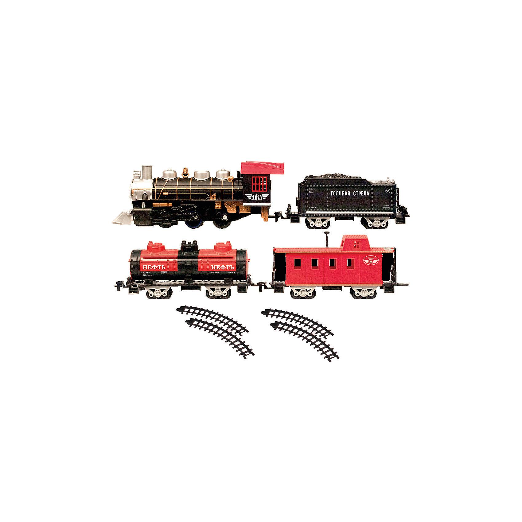 Железная дорога с тремя вагончиками 184 см, Голубая стрелаЖелезная дорога с тремя вагончиками 184 см, Голубая стрела.<br><br>Характеристики:<br><br>• Комплектация: 14 элементов пути (4 прямых, 10 изогнутых), 2 стрелки, паровоз, тендер с углем, цистерна, пассажирский вагон<br>• Количество элементов: 20 шт.<br>• Длина локомотива: 22 см.<br>• Ширина колеи: 3,3 см.<br>• Общая протяженность: 184 см.<br>• Батарейки: 4 типа АА (не входят в комплект)<br>• Материал: пластик, металл<br>• Упаковка: картонная коробка блистерного типа<br>• Размер упаковки: 57х39х7,5 см.<br><br>Вы только посмотрите, какой прекрасный набор железной дороги! Выполненный в стиле ретро паровоз выглядит очень эффектно. Комплект, состоящий из восхитительного локомотива, тендера с углем, пассажирского вагона и цистерны, элементов дороги, хорош не только внешним видом, но и функциональным содержанием. Звуковые и световые эффекты, дым из трубы, все это создает впечатление реалистичности картины. Погрузиться в игру с этой железной дорогой можно на долгие часы. Общая длина дороги – 184см (колея 33 мм )! <br><br>В данном наборе возможны три разных варианта сборки дороги (кругом – из 8 деталей, овалом – из 10-12 деталей, 2 в 1 круг с овалом – 14-16 деталей). Благодаря стрелкам (в комплекте) на дороге, можно самостоятельно регулировать направление поезда. Игрушка развивает воображение, фантазию, пространственное мышление, творческие способности. Данный товар был отмечен дипломом 1-ой степени «За высокие потребительские свойства» и золотой медалью «За качество» на выставке «Мир Детства 2012».<br><br>Железную дорогу с тремя вагончиками 184 см, Голубая стрела можно купить в нашем интернет-магазине.<br><br>Ширина мм: 570<br>Глубина мм: 380<br>Высота мм: 70<br>Вес г: 1579<br>Возраст от месяцев: 36<br>Возраст до месяцев: 2147483647<br>Пол: Мужской<br>Возраст: Детский<br>SKU: 5400265