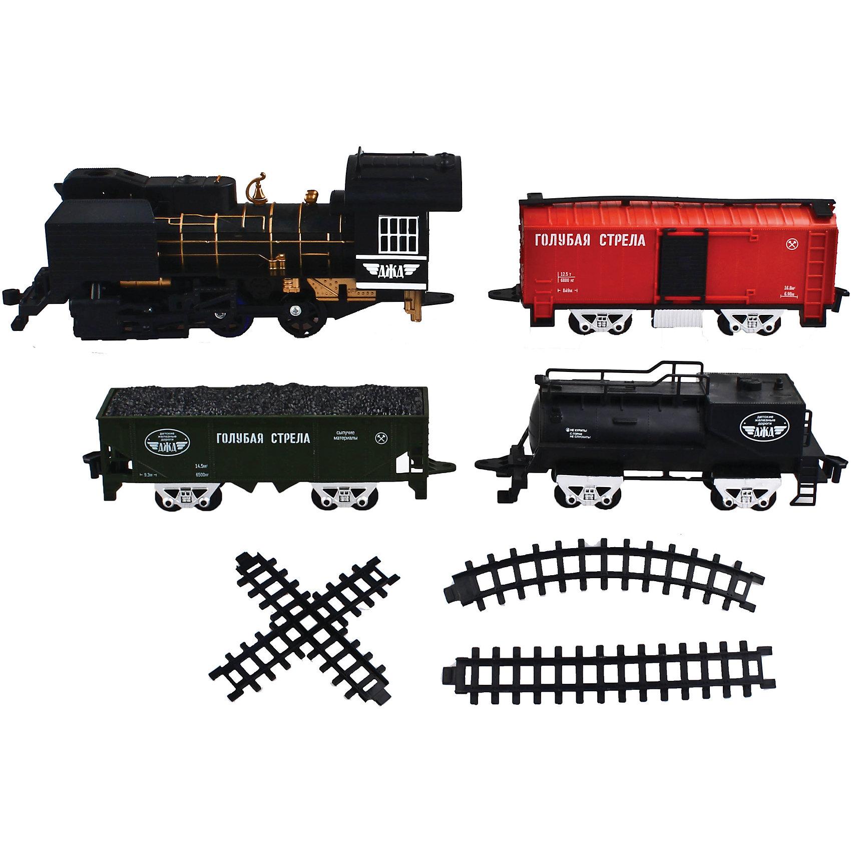 Железная дорога с тремя вагончиками 212 см, Голубая стрелаИгрушечная железная дорога<br>Железная дорога с тремя вагончиками 212 см, Голубая стрела.<br><br>Характеристики:<br><br>• Комплектация: локомотив, тендер с углем, цистерна, пассажирский вагон, 12 изогнутых сегментов пути,4 прямых элемента пути, стрелка (крестообразная)<br>• Ширина колеи: 3,3 см.<br>• Общая протяженность: 212 см.<br>• Батарейки: 4 типа АА (не входят в комплект)<br>• Материал: пластик, металл<br>• Упаковка: картонная коробка блистерного типа<br>• Размер упаковки: 77х7х35 см.<br><br>Вы только посмотрите, какой прекрасный набор железной дороги! Выполненный в стиле ретро паровоз выглядит очень эффектно. Комплект, состоящий из восхитительного локомотива, тендера с углем, пассажирского вагона и цистерны, элементов дороги, хорош не только внешним видом, но и функциональным содержанием. <br><br>Звуковые и световые эффекты, дым из трубы, все это создает впечатление реалистичности картины. Погрузиться в игру с этой железной дорогой можно на долгие часы. Общая длина дороги – 212 см (колея 33 мм)! В данном наборе возможны три разных варианта сборки дороги (кругом – из 8 деталей, овалом – из 10-12, восьмеркой – 17 деталей). Игрушка развивает воображение, фантазию, пространственное мышление, творческие способности.<br><br>Железную дорогу с тремя вагончиками 212 см, Голубая стрела можно купить в нашем интернет-магазине.<br><br>Ширина мм: 770<br>Глубина мм: 350<br>Высота мм: 75<br>Вес г: 1717<br>Возраст от месяцев: 36<br>Возраст до месяцев: 2147483647<br>Пол: Мужской<br>Возраст: Детский<br>SKU: 5400266
