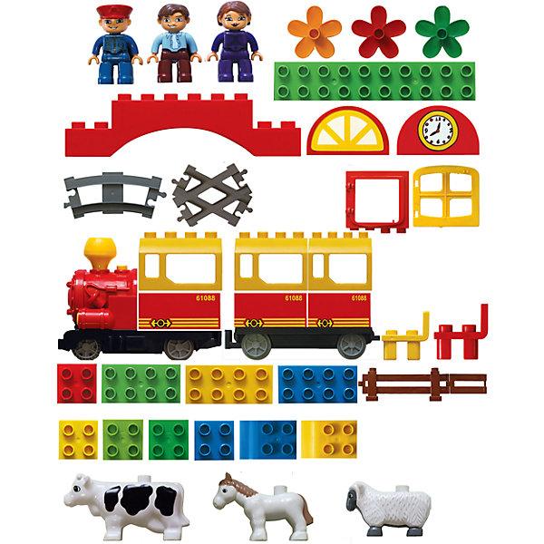 Железная дорога Конструктор с паровозиком и вагончиком 162 см, Голубая стрелаЖелезные дороги<br>Железная дорога Конструктор с паровозиком и вагончиком 162 см, Голубая стрела.<br><br>Характеристики:<br><br>• Комплектация: рельсы 12 элементов, паровоз, вагон, 3 человечка, корова, лошадь, овца, 4 цветочка, 2 стула, элементы для сборки фермы, элементы для сборки ворот с часами<br>• Общая длина пути: 162 см.<br>• Ширина колеи: 3,5 см.<br>• Размер вагонов: 13х6 см.<br>• Батарейки: 3 типа АА (не входят в комплект)<br>• Материал: пластик<br>• Упаковка: картонная коробка<br><br>В этой волшебной коробке есть все для интересной игры! Это и железная дорога со световыми и звуковыми эффектами, и блочно-модульный конструктор одновременно! Немного фантазии и терпения - чудесный поезд отвезет первых пассажиров на увлекательную загородную прогулку... «Внимание! Внимание! Наш поезд отправляется на экскурсию! Приглашаются все желающие! Просим пассажиров занять свои места! <br><br>Мы побываем на настоящей ферме и познакомимся с её обитателями; покатаемся на лошади; узнаем, как появляется на нашем столе вкусное молоко и откуда берется пряжа, из которой бабушки вяжут нам теплые носки и варежки! Работники фермы с удовольствием помогут нам в этом, а до места назначения нас доставит машинист, который и будет управлять нашим поездом. Счастливого пути!»<br><br>Эта модель «Голубой стрелы» понравится всем, ведь кроме самой железной дороги, необходимо будет собрать целую ферму, а также ворота с часами, двухэтажный домик. Игра получится интересной, долгой и увлекательной. Из элементов железной дороги (общая длина пути – 162 см , колея – 35 мм ) можно собрать круг, овал или извилистую линию. <br><br>Движение состава происходит в зависимости от положения переключателя on/off на паровозе. Вагоны между собой соединяются с помощью петелек, как обычные игрушечные машинки. В вагончиках поезда, если снять крышу, можно помещать животных и человечков. Данный товар был отмечен «знаком качества» на выставке «