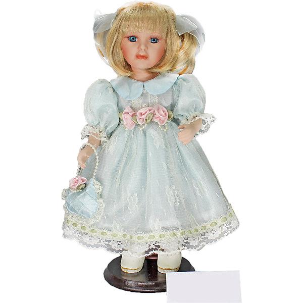 Фарфоровая кукла Аделина, Angel CollectionБренды кукол<br>Фарфоровая кукла Аделина, Angel Collection.<br><br>Характеристики:<br><br>• Высота куклы: 30 см.<br>• Материал: фарфор, текстиль.<br>• Упаковка: картонная коробка блистерного типа<br><br>Фарфоровая кукла Аделина, Angel Collection представляет собой изящно выполненную куклу на подставке, выглядящую невероятно реалистично. Весь образ куклы тщательно продуман и детализирован. Кукла очаровывает с первого взгляда. У Аделины густые светлые волосы. Два хвостика украшены бантами, а остальные пряди красиво обрамляют лицо куклы. Одета кукла в роскошное длинное платье старинного фасона, украшенное цветами и кружевом. На руке у Аделины небольшая сумочка в тон платью с ручкой из бусин. <br><br>Фарфоровая красавица Аделина - это не просто игрушка, а также украшение для интерьера или ценный экспонат коллекции. Каждая кукла в серии Angel Collection, обладает неповторимым образом - принцессы, феи, маленькие девочки, роскошные невесты и т.д. Изысканные наряды и очаровательная матовость фарфора превращают этих кукол в настоящее произведение искусства. Куклы Angel Collection сделаны из уникальной голубой глины, добываемой только в провинции Tai-Nan Shin, Тайвань.<br><br>Фарфоровую куклу Аделина, Angel Collection можно купить в нашем интернет-магазине.<br><br>Ширина мм: 145<br>Глубина мм: 320<br>Высота мм: 95<br>Вес г: 667<br>Возраст от месяцев: 36<br>Возраст до месяцев: 2147483647<br>Пол: Женский<br>Возраст: Детский<br>SKU: 5400271