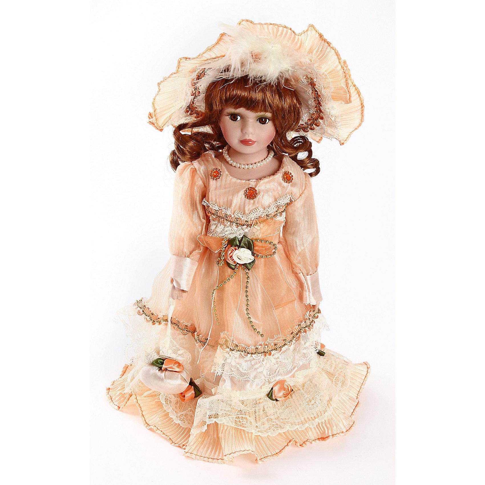 Фарфоровая кукла Кери, Angel CollectionФарфоровая кукла Кери, Angel Collection.<br><br>Характеристики:<br><br>• Высота куклы: 30 см.<br>• Материал: фарфор, текстиль.<br>• Упаковка: картонная коробка блистерного типа<br><br>Фарфоровая кукла Кери, Angel Collection представляет собой изящно выполненную куклу на подставке, выглядящую невероятно реалистично. Весь образ куклы тщательно продуман и детализирован. Кукла очаровывает с первого взгляда. Она одета в нарядное платье с длинными рукавами, украшенное розами, на голове – шляпка в тон наряду, шею украшает роскошное жемчужное ожерелье. В руках Кери держит сумочку. Волосы куклы уложены в аккуратную прическу и завиты в роскошные локоны. Лицо отлично прорисовано, у игрушечной девушки выразительные карие глаза. <br><br>Фарфоровая красавица Кери - это не просто игрушка, а также украшение для интерьера или ценный экспонат коллекции. Каждая кукла в серии Angel Collection, обладает неповторимым образом - принцессы, феи, маленькие девочки, роскошные невесты и т.д. Изысканные наряды и очаровательная матовость фарфора превращают этих кукол в настоящее произведение искусства. Куклы Angel Collection сделаны из уникальной голубой глины, добываемой только в провинции Tai-Nan Shin, Тайвань.<br><br>Фарфоровую куклу Кери, Angel Collection можно купить в нашем интернет-магазине.<br><br>Ширина мм: 145<br>Глубина мм: 320<br>Высота мм: 95<br>Вес г: 500<br>Возраст от месяцев: 36<br>Возраст до месяцев: 2147483647<br>Пол: Женский<br>Возраст: Детский<br>SKU: 5400274