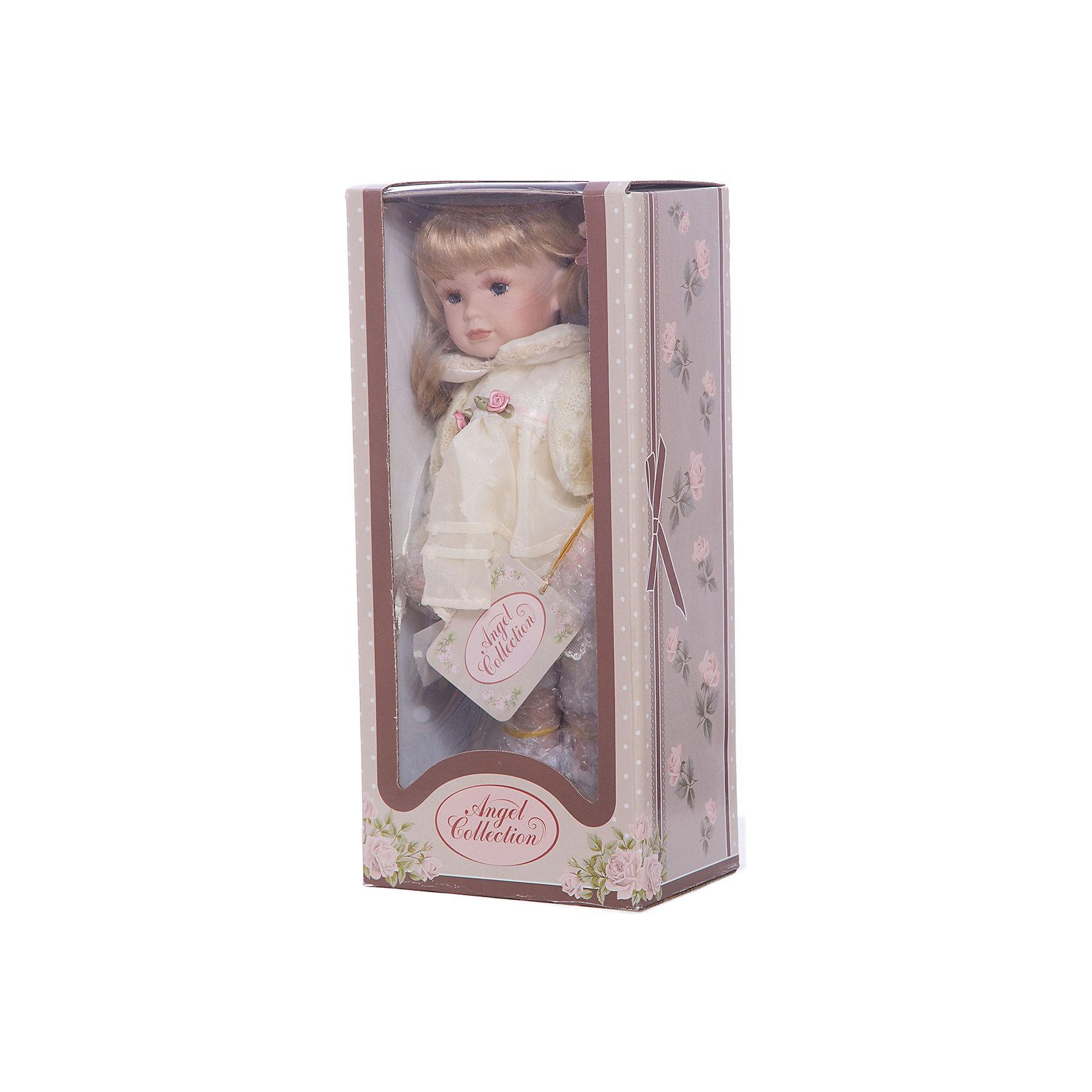 Фарфоровая кукла Кетлин, Angel CollectionБренды кукол<br>Фарфоровая кукла Кетлин, Angel Collection.<br><br>Характеристики:<br><br>• Высота куклы: 30 см.<br>• Материал: фарфор, текстиль.<br>• Упаковка: картонная коробка блистерного типа<br><br>Фарфоровая кукла Кетлин, Angel Collection - очаровательная малышка со светлыми локонами. Кетлин одета в нарядное белое платье, которое украшено тоненьким пояском с нежными розами. Поверх платья надета светло-желтая кофточка, а на ногах куклы ботиночки того же цвета. Золотистые волосы Кетлин собраны в два забавных хвостика, которые украшены бантиками. Черты лица куклы выполнены весьма детально, что делает ее похожей на настоящую девочку. Кукла установлена на специальную подставку. <br><br>Фарфоровая красавица Кетлин - это не просто игрушка, а также украшение для интерьера или ценный экспонат коллекции. Каждая кукла в серии Angel Collection, обладает неповторимым образом - принцессы, феи, маленькие девочки, роскошные невесты и т.д. Изысканные наряды и очаровательная матовость фарфора превращают этих кукол в настоящее произведение искусства. Куклы Angel Collection сделаны из уникальной голубой глины, добываемой только в провинции Tai-Nan Shin, Тайвань.<br><br>Фарфоровую куклу Кетлин, Angel Collection можно купить в нашем интернет-магазине.<br><br>Ширина мм: 145<br>Глубина мм: 320<br>Высота мм: 95<br>Вес г: 667<br>Возраст от месяцев: 36<br>Возраст до месяцев: 2147483647<br>Пол: Женский<br>Возраст: Детский<br>SKU: 5400275