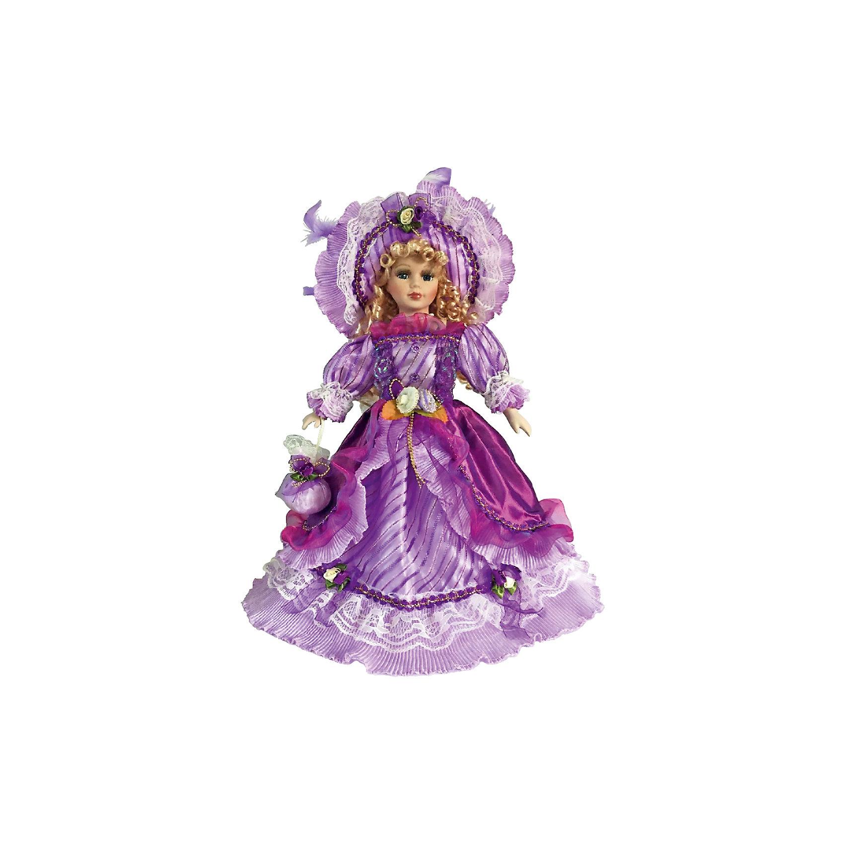 Фарфоровая кукла Иоланта, Angel CollectionБренды кукол<br>Фарфоровая кукла Иоланта, Angel Collection.<br><br>Характеристики:<br><br>• Высота куклы: 40,5 см.<br>• Материал: фарфор, текстиль<br>• Упаковка: картонная коробка блистерного типа<br><br>Фарфоровая кукла Иоланта - это очередное дизайнерское творение от бренда Angel Collection. Кукла очаровывает с первого взгляда. Весь образ куклы тщательно продуман и детализирован. Наряд куклы представляет собой шик, изысканность и модные тенденции 18 века. Голову украшает шляпа с очень широкими полями, из-под которой спадают на плечи золотистые локоны. Платье максимально закрытое. Рукава, украшенные пышным кружевом, доходят до кистей. Подол платья - до пола, полностью закрывает ноги. Впереди низ платья декорирован бусами. Пояс выполнен в форме гладко отшлифованных камней. В руках кукла держит сумочку. Весь наряд выполнен в различных оттенках фиолетового цвета. Кукла установлена на специальную подставку. <br><br>Фарфоровая красавица Иоланта - это не просто игрушка, а также украшение для интерьера или ценный экспонат коллекции. Каждая кукла в серии Angel Collection, обладает неповторимым образом - принцессы, феи, маленькие девочки, роскошные невесты и т.д. Изысканные наряды и очаровательная матовость фарфора превращают этих кукол в настоящее произведение искусства. Куклы Angel Collection сделаны из уникальной голубой глины, добываемой только в провинции Tai-Nan Shin, Тайвань.<br><br>Фарфоровую куклу Иоланта, Angel Collection можно купить в нашем интернет-магазине.<br><br>Ширина мм: 190<br>Глубина мм: 430<br>Высота мм: 100<br>Вес г: 938<br>Возраст от месяцев: 36<br>Возраст до месяцев: 2147483647<br>Пол: Женский<br>Возраст: Детский<br>SKU: 5400277