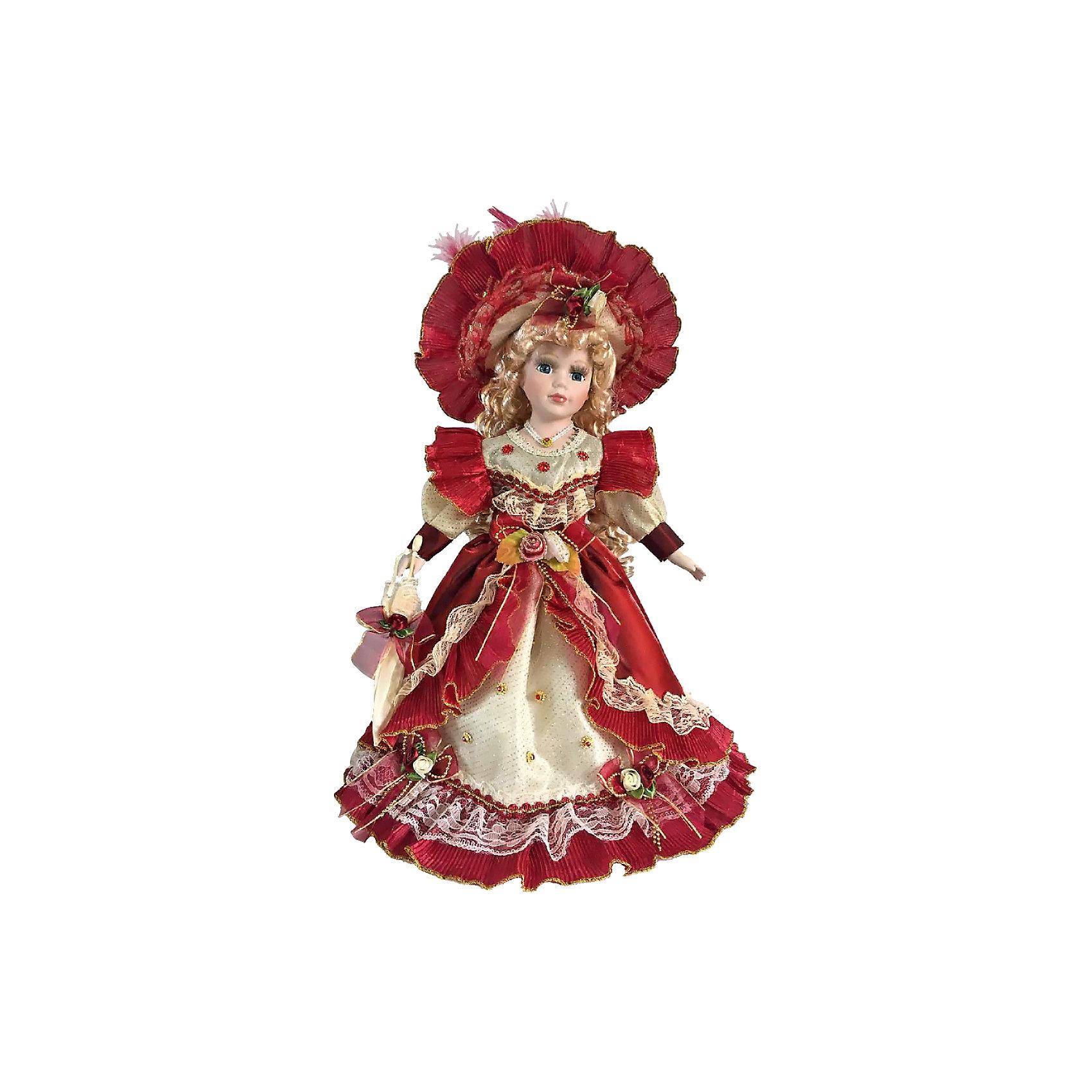 Фарфоровая кукла Лючия, Angel CollectionФарфоровая кукла Лючия, Angel Collection.<br><br>Характеристики:<br><br>• Высота куклы: 40,5 см.<br>• Материал: фарфор, текстиль<br>• Упаковка: картонная коробка блистерного типа<br><br>Фарфоровая кукла «Лючия», Angel Collection изготовлена с большим вниманием к мелким деталям, благодаря этому она очень красива и привлекательна. Внешний образ этой куклы навеян вкусами и взглядами на моду в викторианскую эпоху. Широкая шляпа украшена перьями, а ее поля с внутренней стороны с помощью складок ткани поделены на декоративные сегменты. Пышное платье представляет собой двухслойную структуру, добавляющую ему роскоши и изысканности. Наряд имеет длинные рукава с намеренно выраженными плечами, и широкий подол, украшенный кружевной лентой. Великолепное сочетание светло-золотого и винного цветов создают величественный и аристократичный образ. У Лючии большие глаза в обрамлении длинных ресничек и ангельское кукольное личико. Кукла установлена на специальную подставку. <br><br>Фарфоровая красавица Лючия - это не просто игрушка, а также украшение для интерьера или ценный экспонат коллекции. Каждая кукла в серии Angel Collection, обладает неповторимым образом - принцессы, феи, маленькие девочки, роскошные невесты и т.д. Изысканные наряды и очаровательная матовость фарфора превращают этих кукол в настоящее произведение искусства. Куклы Angel Collection сделаны из уникальной голубой глины, добываемой только в провинции Tai-Nan Shin, Тайвань.<br><br>Фарфоровую куклу Лючия, Angel Collection можно купить в нашем интернет-магазине.<br><br>Ширина мм: 190<br>Глубина мм: 430<br>Высота мм: 100<br>Вес г: 938<br>Возраст от месяцев: 36<br>Возраст до месяцев: 2147483647<br>Пол: Женский<br>Возраст: Детский<br>SKU: 5400282