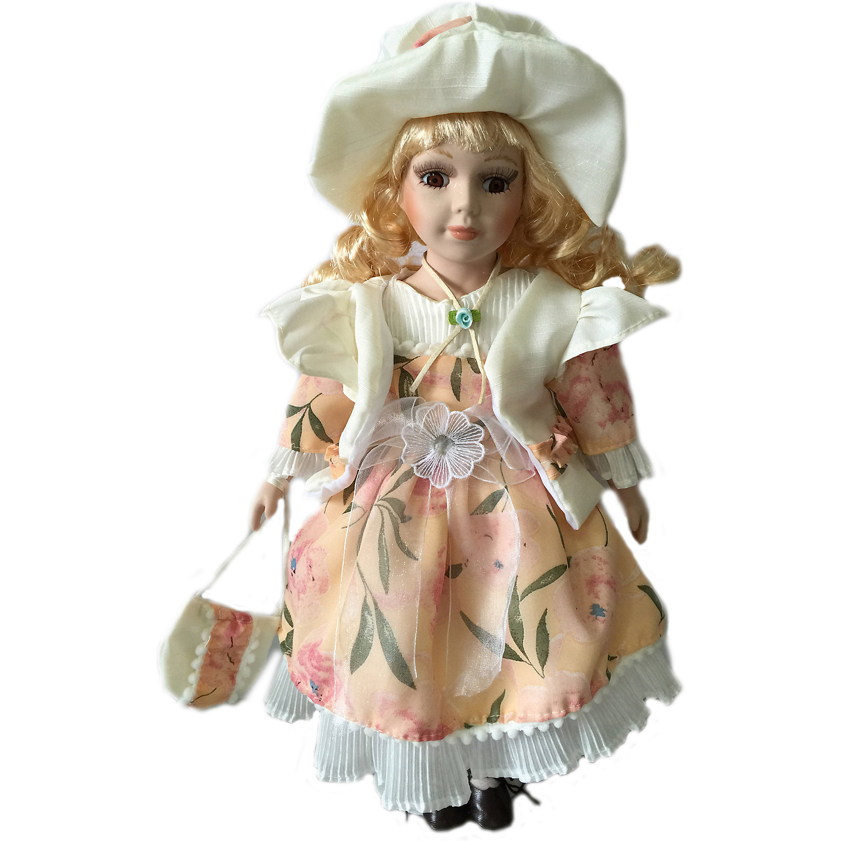 Фарфоровая кукла Эвелина, 40 см, Angel CollectionФарфоровая кукла Эвелина, 40 см, Angel Collection.<br><br>Характеристики:<br><br>• Высота куклы: 40 см.<br>• Материал: фарфор, текстиль<br>• Упаковка: картонная коробка блистерного типа<br><br>Фарфоровая кукла «Эвелина», Angel Collection изготовлена с большим вниманием к мелким деталям, благодаря этому она очень красива и привлекательна. У Эвелины большие глаза в обрамлении длинных ресничек, светлые волосы и ангельское кукольное личико. На кукле надето нежное платье персикового цвета, декорированное цветочным принтом. На ногах у Эвелины - туфельки, на голове - элегантная шляпа белого цвета, которая придает ей неповторимый шарм и грациозность. Кукла установлена на специальную подставку. <br><br>Фарфоровая красавица Эвелина - это не просто игрушка, а также украшение для интерьера или ценный экспонат коллекции. Каждая кукла в серии Angel Collection, обладает неповторимым образом - принцессы, феи, маленькие девочки, роскошные невесты и т.д. Изысканные наряды и очаровательная матовость фарфора превращают этих кукол в настоящее произведение искусства. Куклы Angel Collection сделаны из уникальной голубой глины, добываемой только в провинции Tai-Nan Shin, Тайвань.<br><br>Фарфоровую куклу Эвелина, 40 см, Angel Collection можно купить в нашем интернет-магазине.<br><br>Ширина мм: 160<br>Глубина мм: 420<br>Высота мм: 95<br>Вес г: 833<br>Возраст от месяцев: 36<br>Возраст до месяцев: 2147483647<br>Пол: Женский<br>Возраст: Детский<br>SKU: 5400288