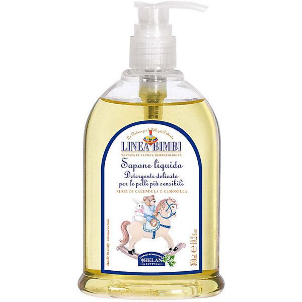 Мыло жидкое для детей Linea Bimbi, 300 мл., HELANМыло для детей<br>Мыло жидкое для детей Linea Bimbi, 300 мл., HELAN (Хелан)<br><br>Характеристики:<br><br>• подходит для чувствительной кожи<br>• успокаивает и придаёт мягкость коже<br>• обеспечивает нормальный уровень pH<br>• не содержит консервантов и красителей<br>• приятный аромат<br>• удобный дозатор<br>• активные компоненты: экстракт ромашки, экстракт календулы<br>• объем: 300 мл<br>• размер упаковки: 17х9х5 см<br>• вес: 360 грамм<br><br>Жидкое мыло Linea Bimbi подходит даже для самой чувствительной кожи. Компоненты, входящие в состав, бережно смягчают и увлажняют кожу, а экстракты ромашки и календулы препятствуют появлению покраснений и раздражения. Мыло имеет лёгкий приятный аромат, который также не вызовет аллергии. Удобный дозатор позволит вам взять необходимое количество мыла. Продукт не содержит красителей и консервантов, вредных для здоровья малыша.<br><br>Мыло жидкое для детей Linea Bimbi, 300 мл., HELAN (Хелан) можно купить в нашем интернет-магазине.<br><br>Ширина мм: 50<br>Глубина мм: 90<br>Высота мм: 170<br>Вес г: 360<br>Возраст от месяцев: -2147483648<br>Возраст до месяцев: 2147483647<br>Пол: Унисекс<br>Возраст: Детский<br>SKU: 5401699