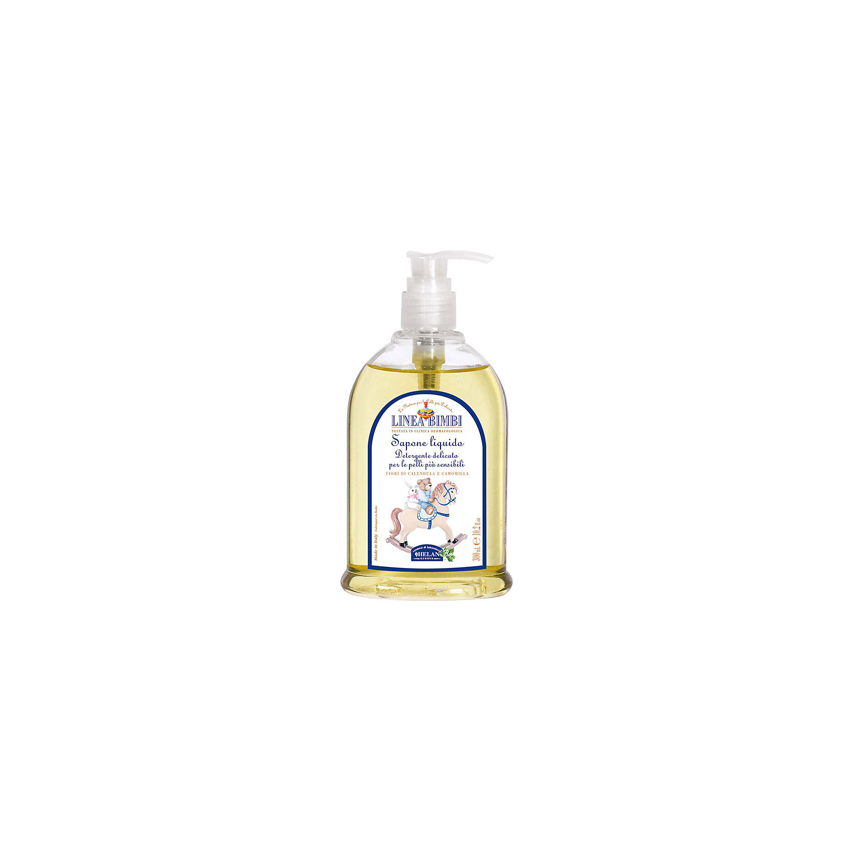 Мыло жидкое для детей Linea Bimbi, 300 мл., HELANМыло жидкое для детей Linea Bimbi, 300 мл., HELAN (Хелан)<br><br>Характеристики:<br><br>• подходит для чувствительной кожи<br>• успокаивает и придаёт мягкость коже<br>• обеспечивает нормальный уровень pH<br>• не содержит консервантов и красителей<br>• приятный аромат<br>• удобный дозатор<br>• активные компоненты: экстракт ромашки, экстракт календулы<br>• объем: 300 мл<br>• размер упаковки: 17х9х5 см<br>• вес: 360 грамм<br><br>Жидкое мыло Linea Bimbi подходит даже для самой чувствительной кожи. Компоненты, входящие в состав, бережно смягчают и увлажняют кожу, а экстракты ромашки и календулы препятствуют появлению покраснений и раздражения. Мыло имеет лёгкий приятный аромат, который также не вызовет аллергии. Удобный дозатор позволит вам взять необходимое количество мыла. Продукт не содержит красителей и консервантов, вредных для здоровья малыша.<br><br>Мыло жидкое для детей Linea Bimbi, 300 мл., HELAN (Хелан) можно купить в нашем интернет-магазине.<br><br>Ширина мм: 50<br>Глубина мм: 90<br>Высота мм: 170<br>Вес г: 360<br>Возраст от месяцев: -2147483648<br>Возраст до месяцев: 2147483647<br>Пол: Унисекс<br>Возраст: Детский<br>SKU: 5401699