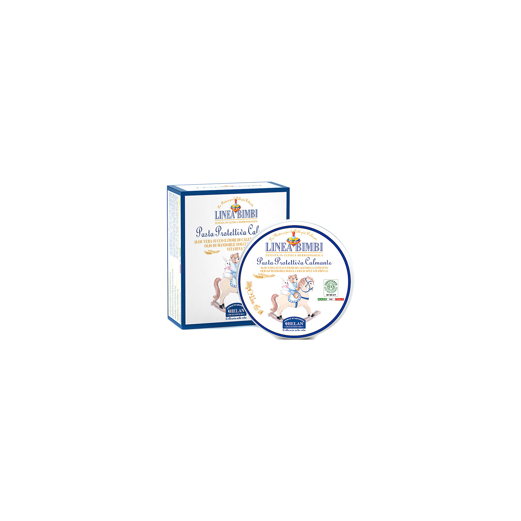 Крем увлажняющий и защищающий для зоны пеленания Linea Bimbi, 100 мл., HELANКосметика для младнецев<br>Крем увлажняющий и защищающий для зоны пеленания Linea Bimbi, 100 мл., HELAN (Хелан)<br><br>Характеристики:<br><br>• защищает от раздражения при использовании подгузников<br>• смягчает и питает кожу<br>• поддерживает естественный баланс кожи<br>• защищает от негативных внешних воздействий<br>• подходит для чувствительной кожи<br>• активные компоненты: экстракт календулы, сок алоэ-вера, масло сладкого миндаля, пчелиный воск, витамин Е<br>• объем: 100 мл<br>• размер упаковки: 10х10х5 см<br>• вес: 204 грамма<br><br>При использовании подгузников у малышей нередко возникает раздражение на коже. Защитный крем Linea Bimbi поможет вам защитить кожу малыша. Он бережно смягчает и питает кожу ребёнка, защищая её от внешнего воздействия. Активные компоненты на растительной основе обеспечивают нормальный уровень увлажнения. Крем подходит для детей с рождения, а также для сверхчувствительной кожи.<br><br>Крем увлажняющий и защищающий для зоны пеленания Linea Bimbi, 100 мл., HELAN (Хелан) можно купить в нашем интернет-магазине.<br><br>Ширина мм: 50<br>Глубина мм: 100<br>Высота мм: 100<br>Вес г: 204<br>Возраст от месяцев: -2147483648<br>Возраст до месяцев: 2147483647<br>Пол: Унисекс<br>Возраст: Детский<br>SKU: 5401702