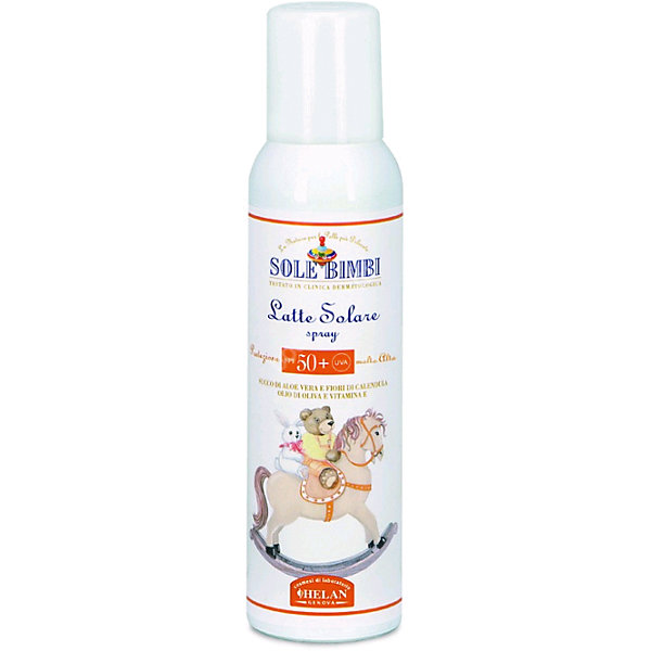 Молочко-спрей солнцезащитное Helan Sole Bimbi  SPF 50, 125мл.Косметика для малыша<br>Характеристики:<br><br>• фактор защиты SPF 50;<br>• защита кожи ребенка от солнечных ожогов;<br>• защита от покраснения<br>• подходит для чувствительной кожи;<br>• консистенция молочка-флюида;<br>• водоустойчивость;<br>• активные компоненты: сок алое вера, миндальное масло, цветки календулы, витамин А, Е;<br>• объем: 125 мл;<br>• упаковка: 18,5х4,5х4,5 см;<br>• вес: 170 г.<br><br>Молочко-спрей солнцезащитное успокаивает и смягчает кожу, уменьшает воздействие солнечных лучей. Молочко питает и защищает кожу ребенка, восстанавливает липидный слой, препятствует потере влаги. Использование молочка для тела дает возможность предотвратить покраснение кожи и появление ожогов. <br><br>Молочко-спрей  солнцезащитное Sole Bimbi  SPF 50, 125мл, Helan можно купить в нашем интернет-магазине.<br><br>Ширина мм: 45<br>Глубина мм: 45<br>Высота мм: 185<br>Вес г: 170<br>Возраст от месяцев: -2147483648<br>Возраст до месяцев: 2147483647<br>Пол: Унисекс<br>Возраст: Детский<br>SKU: 5401715