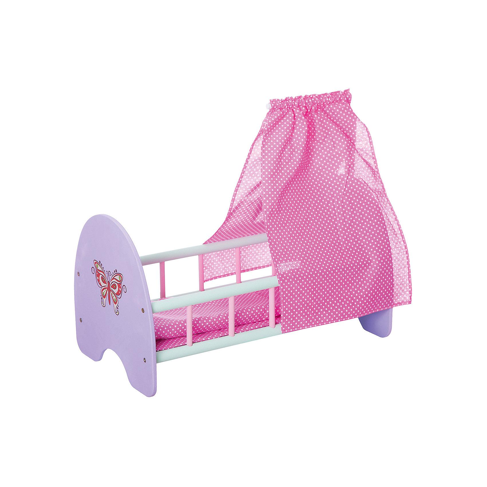 Деревянная кроватка для куклы Бабочка с пологом, 53*30*25 см, Mary PoppinsДомики и мебель<br>Деревянная кроватка для куклы Бабочка с пологом, 53*30*25 см, Mary Poppins.<br><br>Характеристики:<br><br>• Комплектация: кроватка, подушка, одеяло, матрасик, полог<br>• Размер: 53х30х25 см.<br>• Подходит для куклы высотой до 46 см.<br>• Продается в разобранном виде, легко собирается<br>• Материал: дерево, текстиль<br><br>Кукольная кроватка «Бабочка» сделана из экологически чистого материала — дерева. Все детали тщательно отшлифованы — игрушка безопасна для здоровья. Длина спального места — 51 см, кроватка подходит для большинства кукол-младенцев. Кроватка укомплектована, матрасом, подушкой и одеялом. Спинка кроватки украшена рисунком в виде изящной бабочки, боковые части – решетчатые. Кроватка отлично подойдет для сюжетно-ролевых игр в «дочки-матери».<br><br>Деревянную кроватку для куклы Бабочка с пологом, 53*30*25 см, Mary Poppins можно купить в нашем интернет-магазине.<br><br>Ширина мм: 530<br>Глубина мм: 300<br>Высота мм: 250<br>Вес г: 1667<br>Возраст от месяцев: 24<br>Возраст до месяцев: 2147483647<br>Пол: Женский<br>Возраст: Детский<br>SKU: 5402748